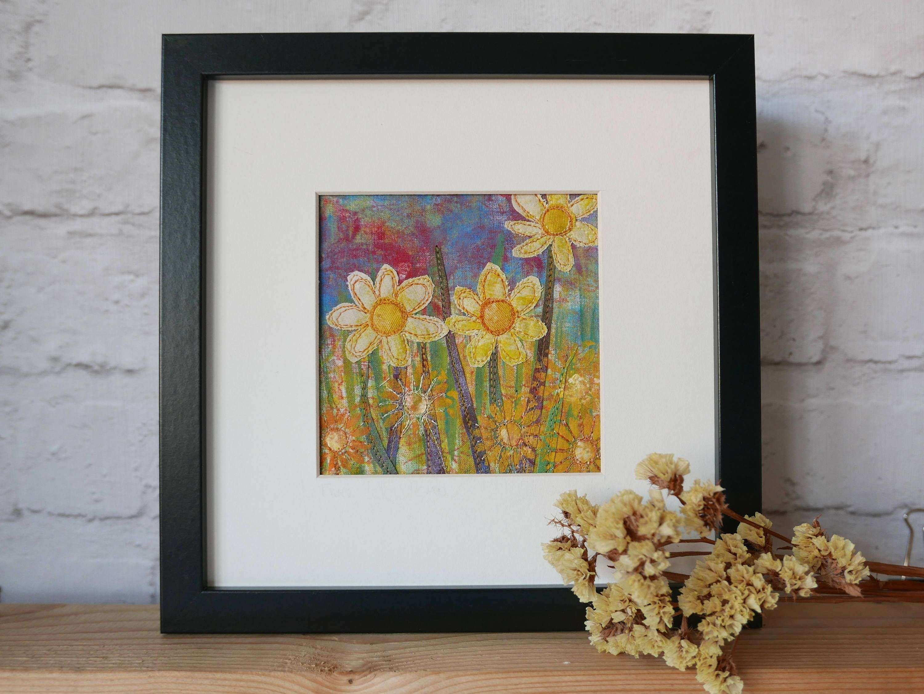 Framed Art Flowers Wall Art original Flower Art Handmade Wall Design