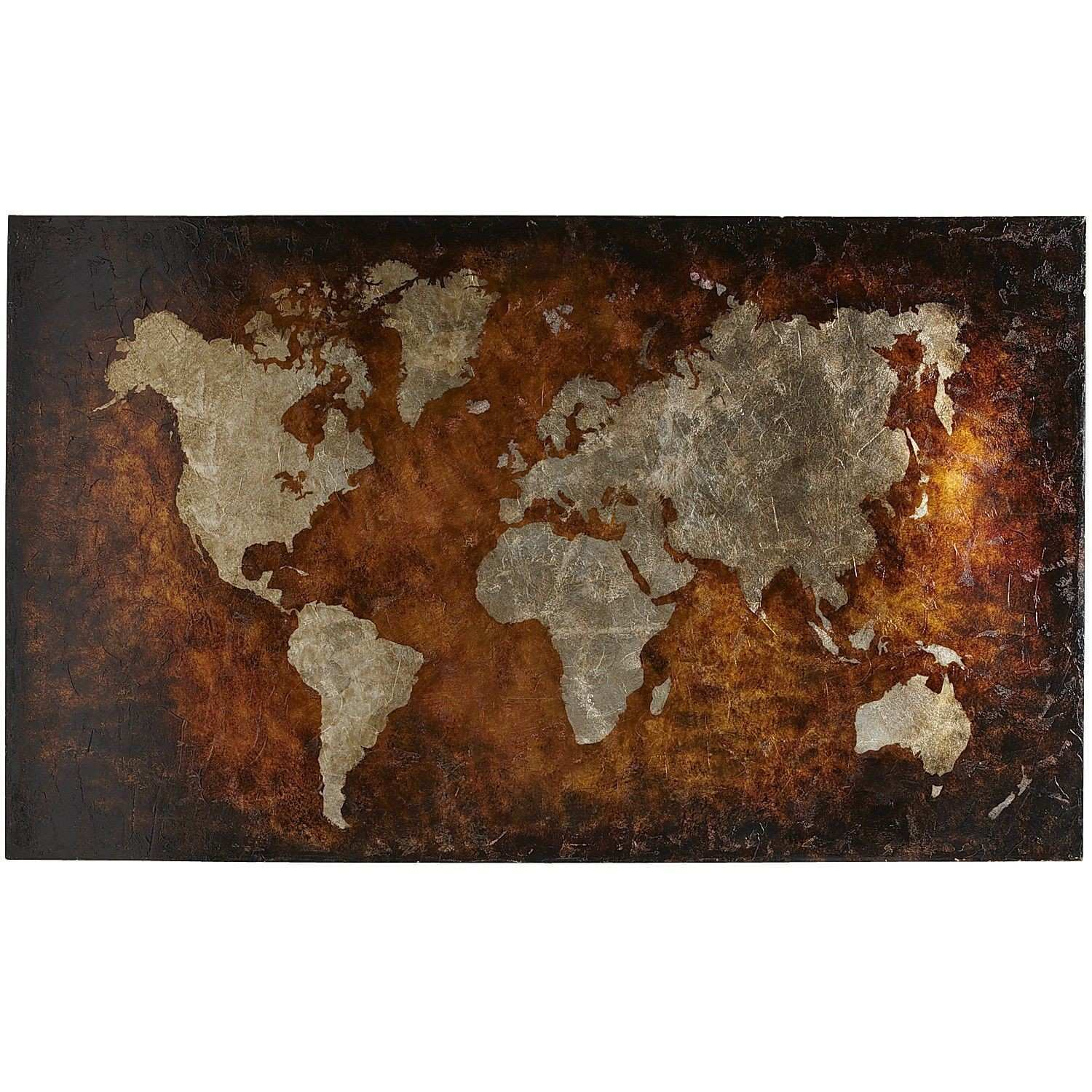 World Map Art Bronze Pier 1 Imports