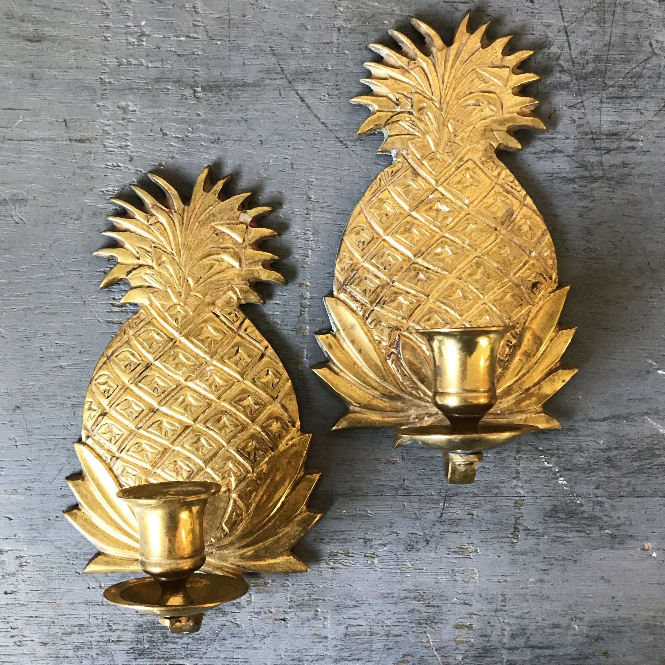 vintage brass candle sconces pineapple candle holders gold tiki