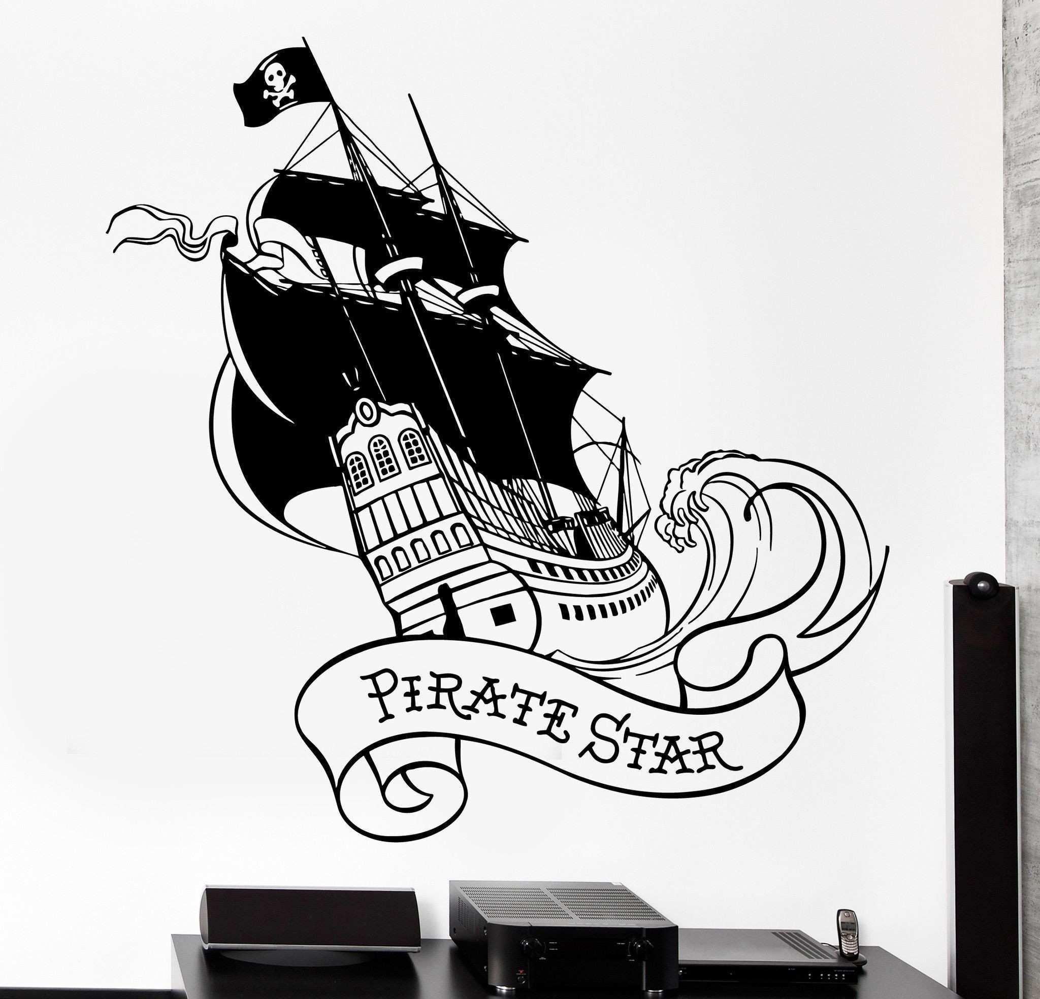 Wall Vinyl Decal Pirate Star Ship Yacht With Black Sail Ocean Home