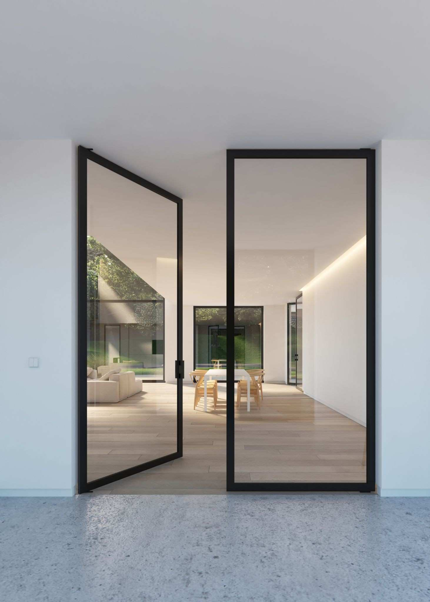 "Double glass door with ""steel look"" frames Portapivot"