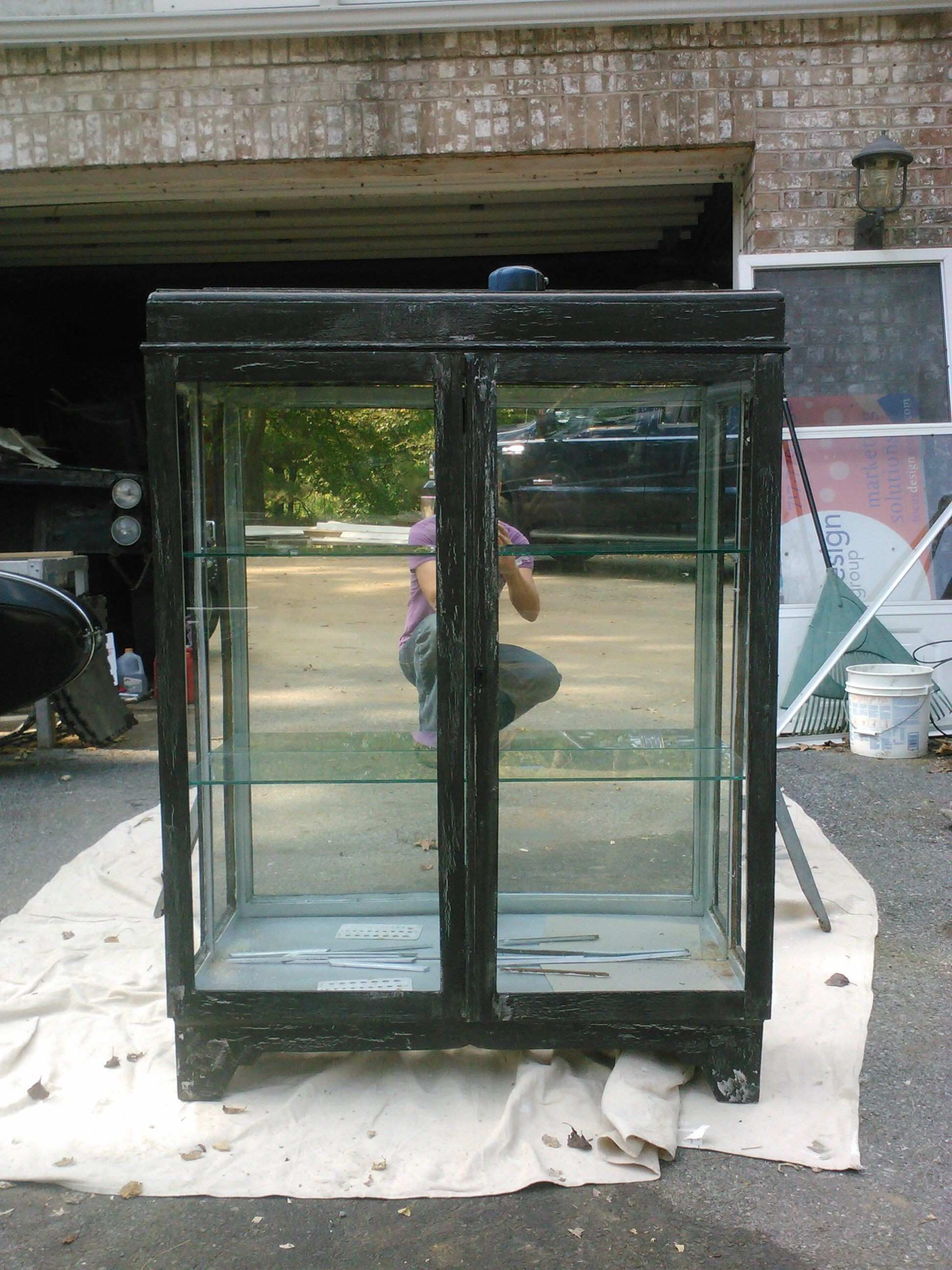 Refinished shabby chic display cabinet Trash find added mirror