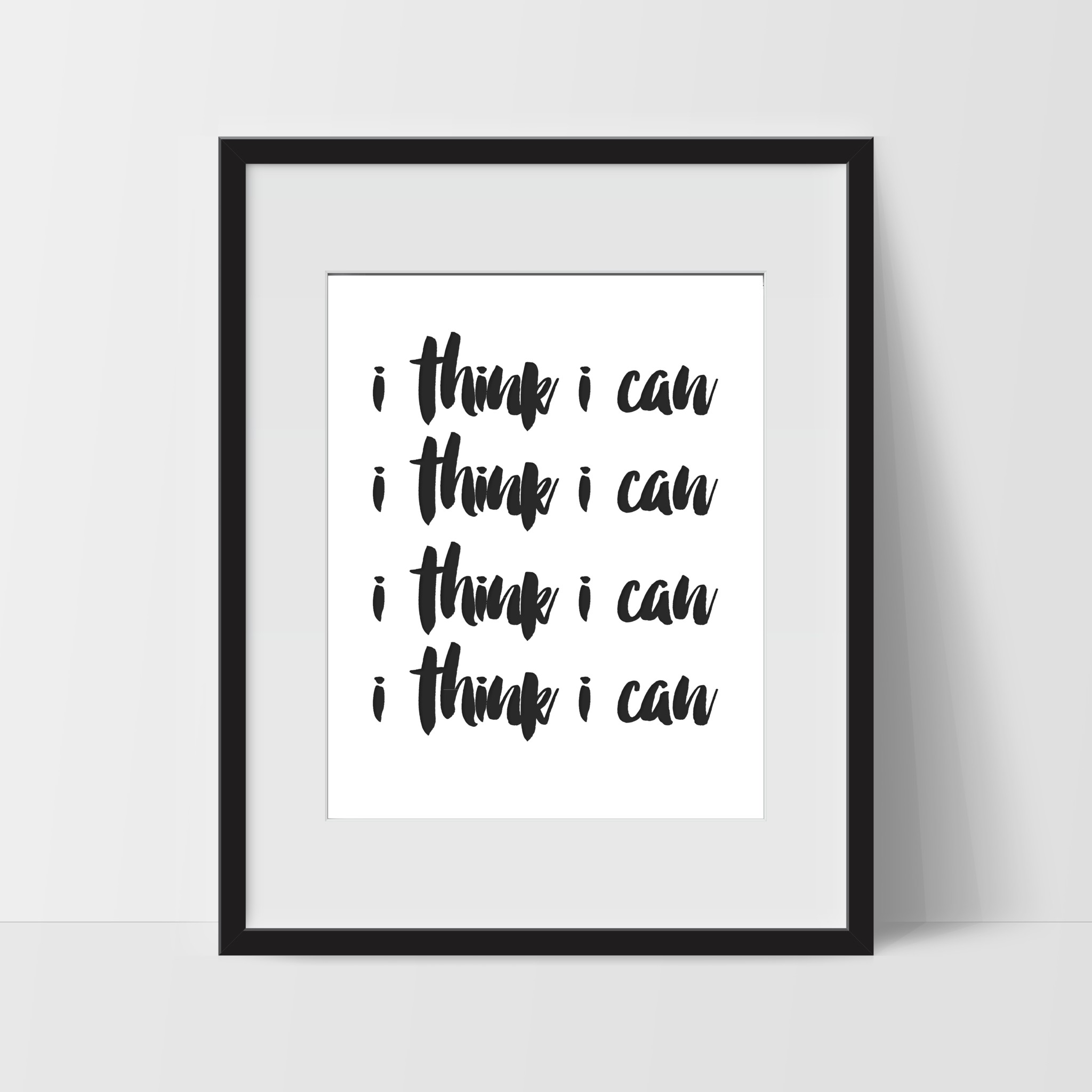 Motivational Wall Art in White I Think I Can Dorm Room Art For
