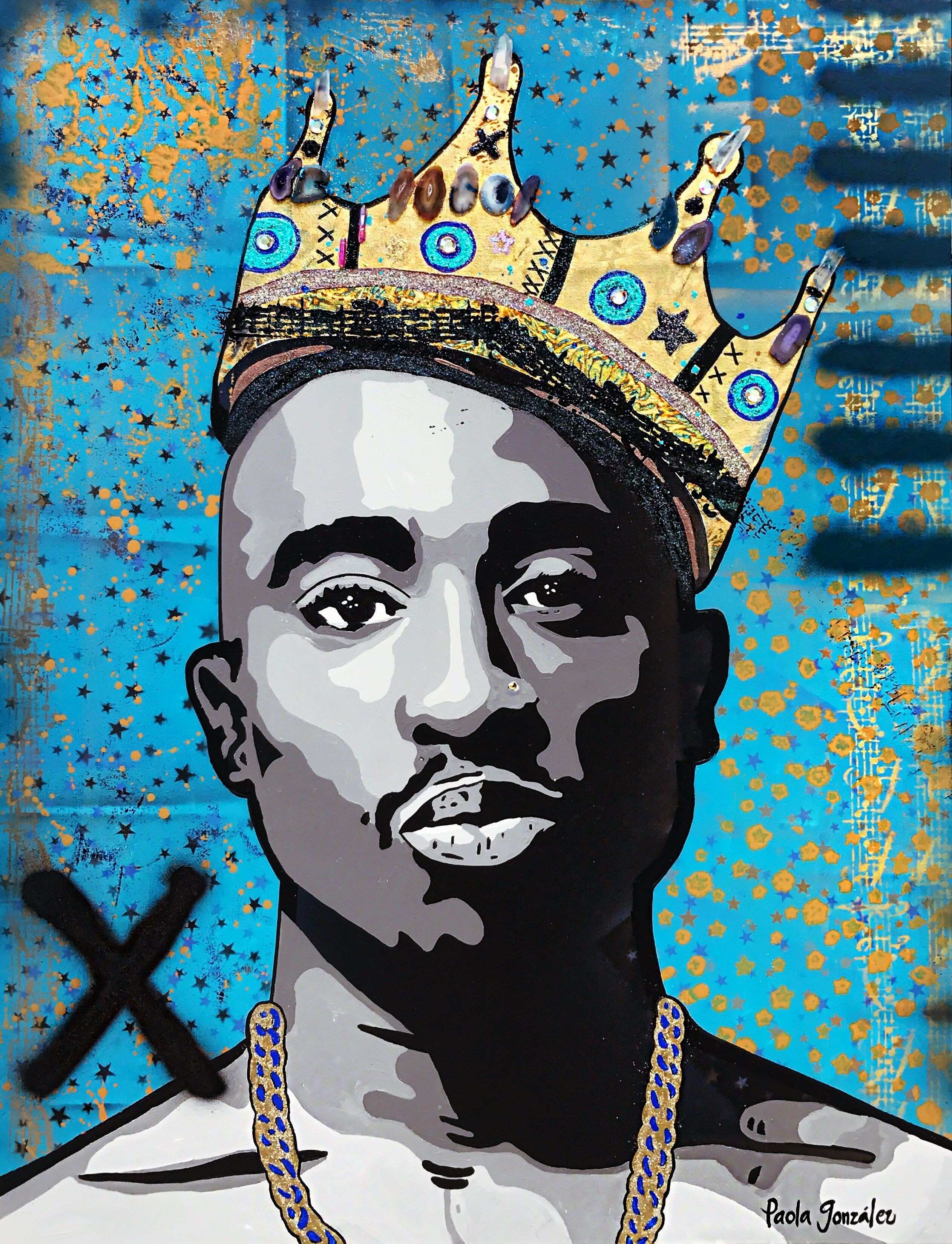 Tupac 2pac pop art icons art painting by Paola Gonzalez