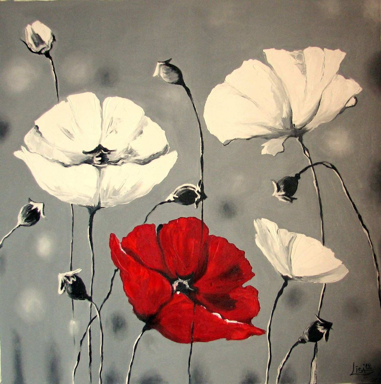 Abstract Painting original Oil Painting 51 X 51 Poppy Inspiration