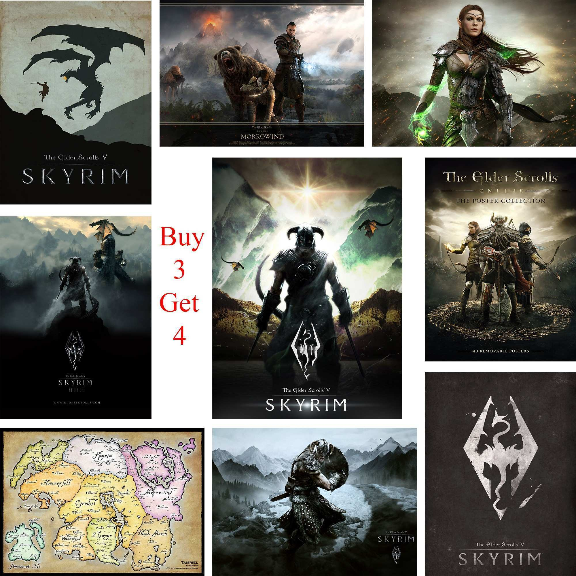 The Eder Scroll Skyrim Posters Game Wall Stickers White Coated Paper