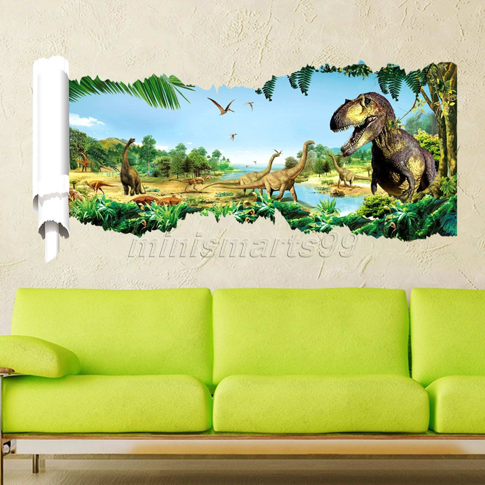 3d Through Dinosaur Wall Stickers Decals for Kids Rooms Art for Baby