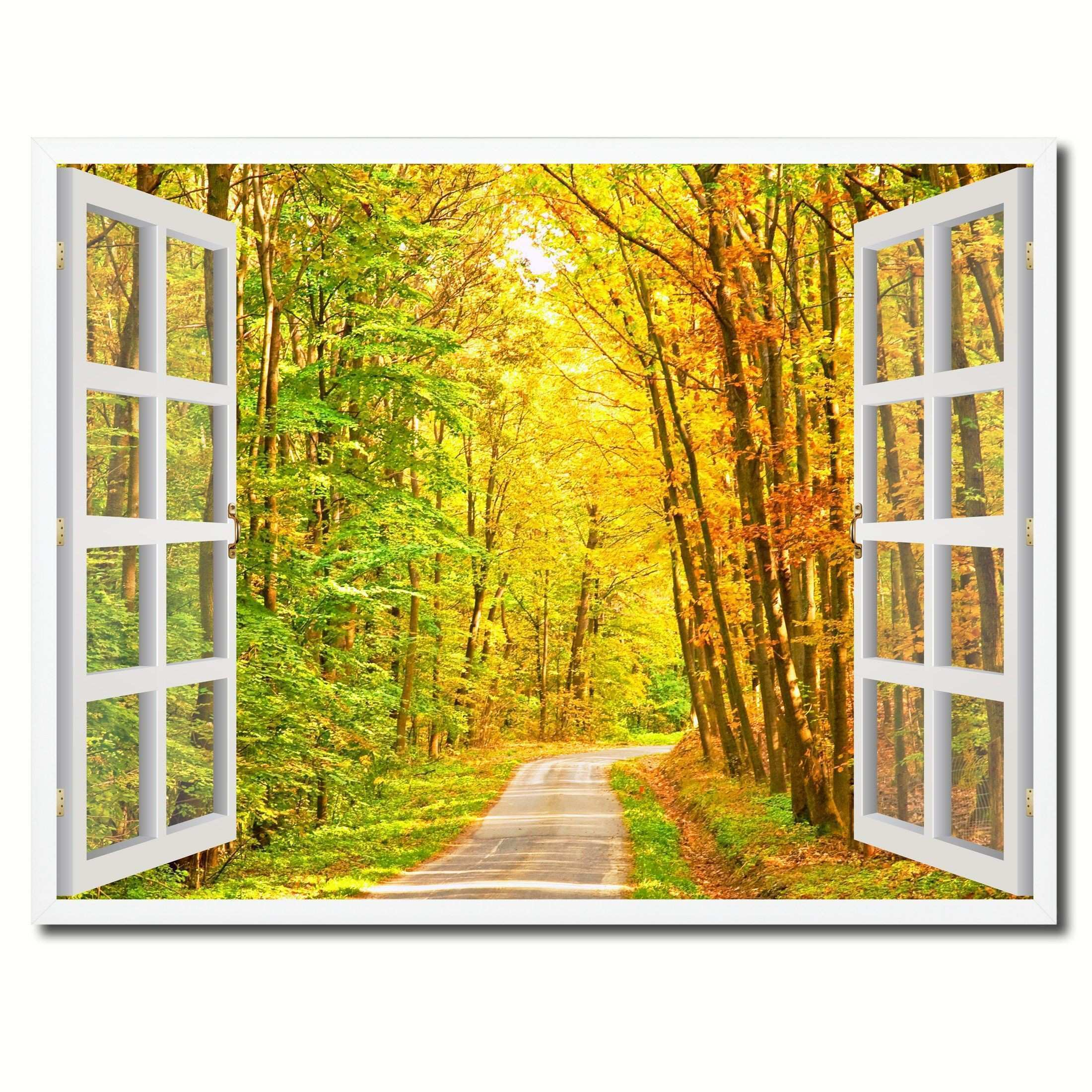 Pathway Autumn Park Fall Forest Picture French Window Framed Canvas