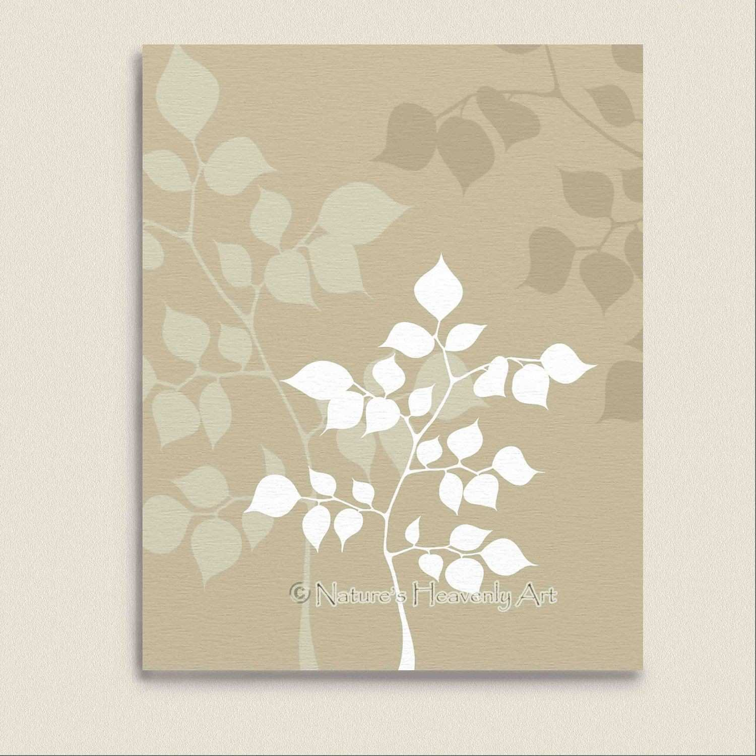 Tan Wall Decor 8 x 10 Modern Wall Art Print Custom Colors Tree