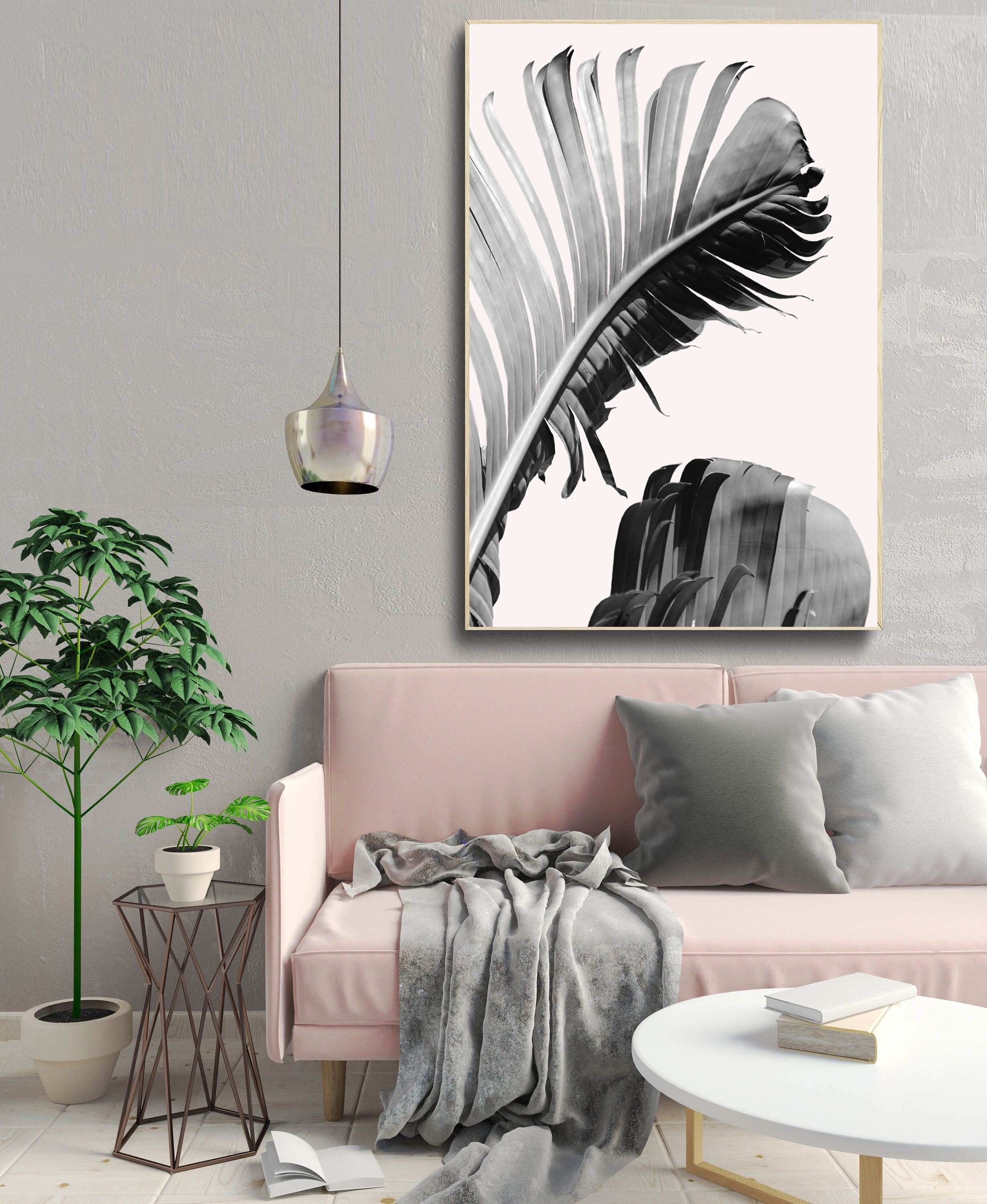 Banana leaves art print tropical leaf wall art baby pink poster