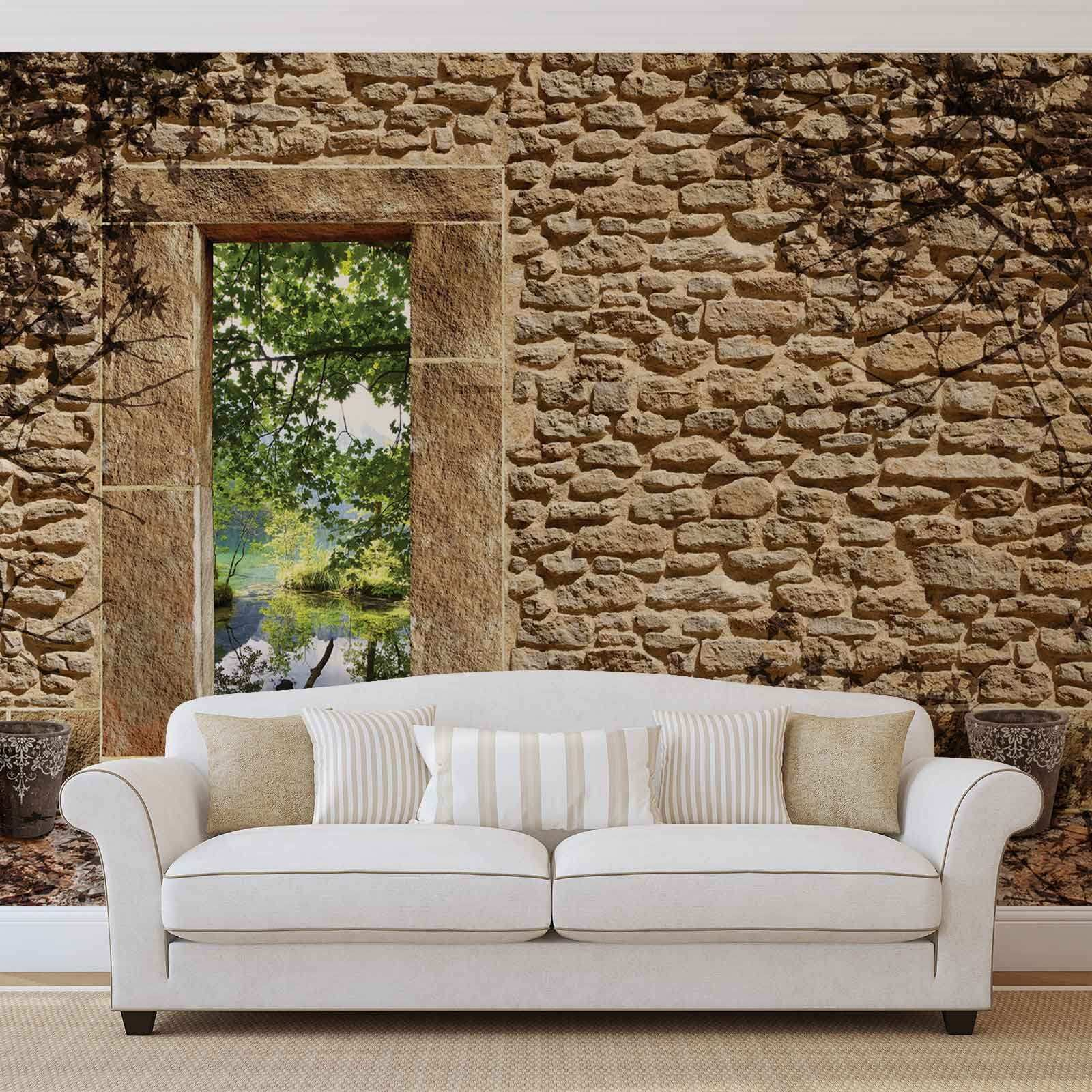 Details about WALL MURAL PHOTO WALLPAPER XXL Stone Wall Door Tree Shade WS