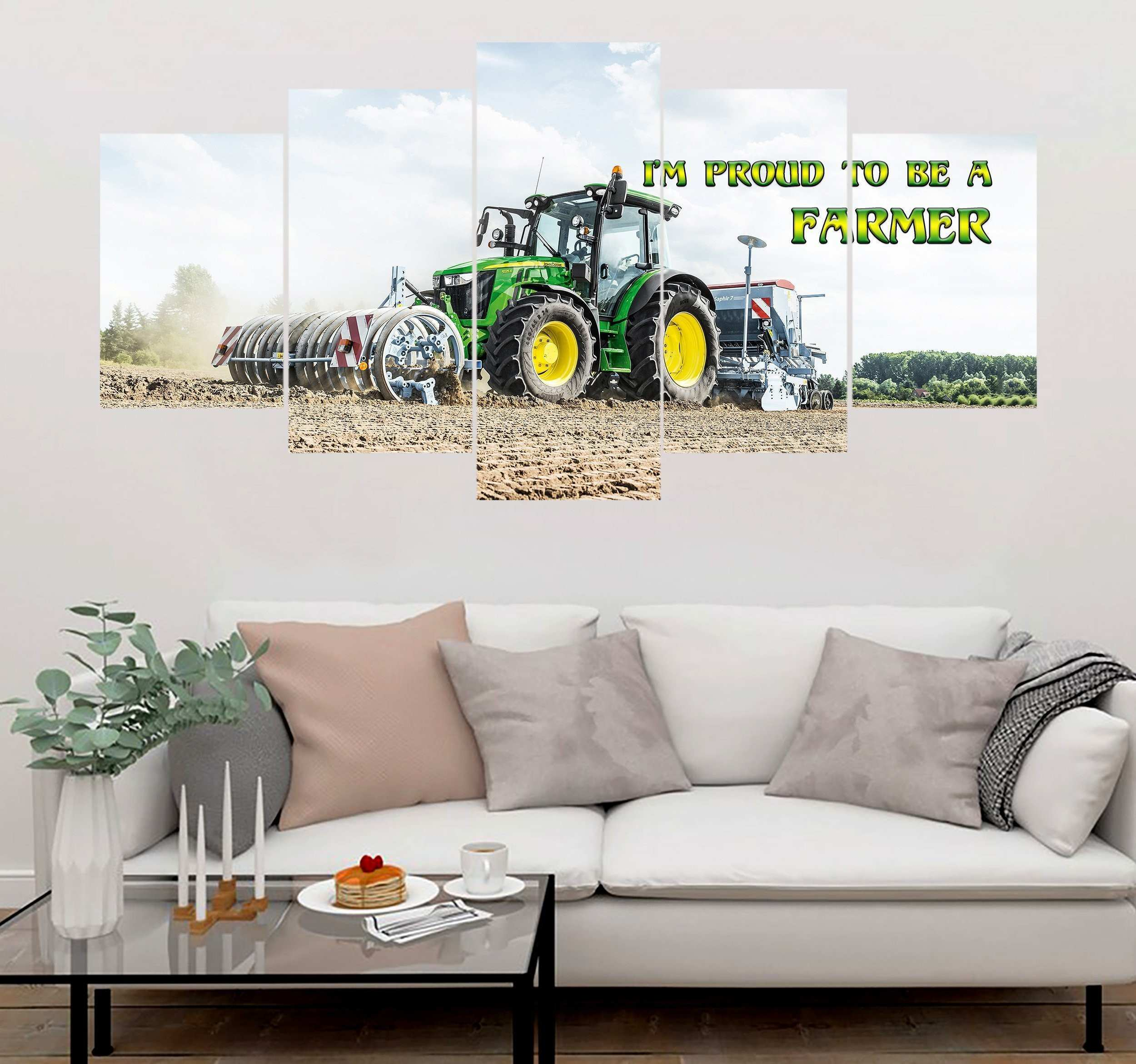 5 piece Farmer with Tractor printed Canvas Wall Art SCDK