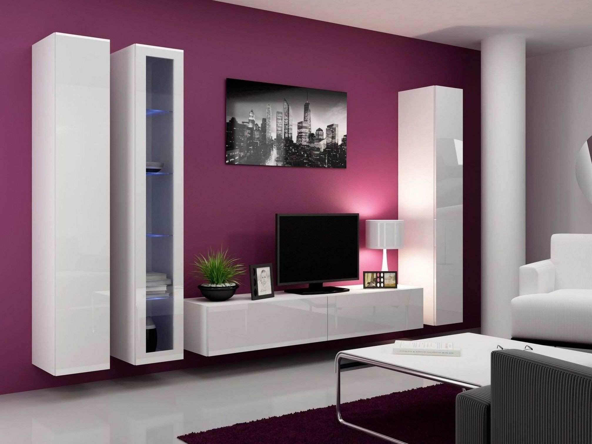 Wall Mounted TV Unit Furniture Pink Color Schemes Ideas For