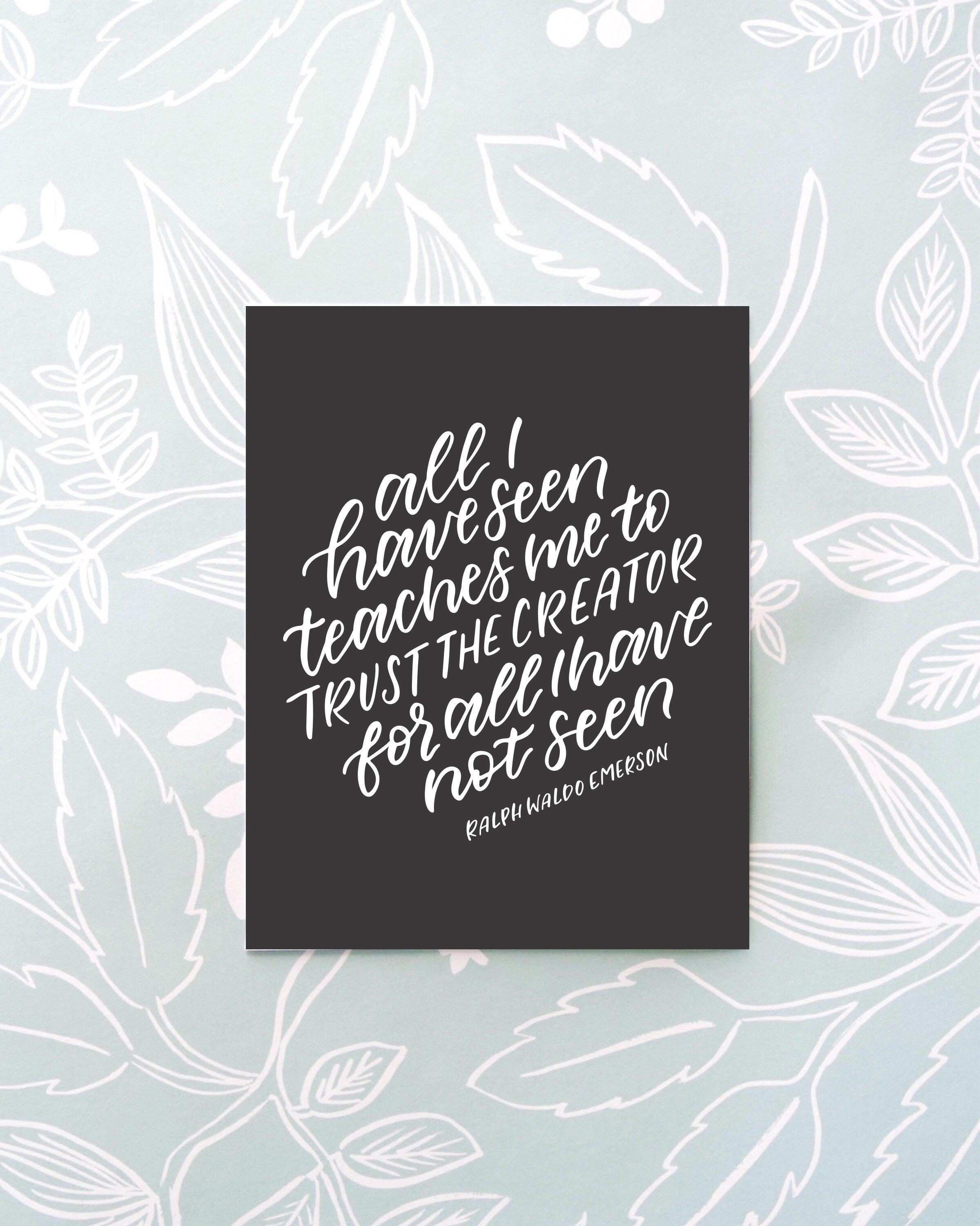 Ralph Waldo Emerson Quote Printable Hand Lettered Quote Print