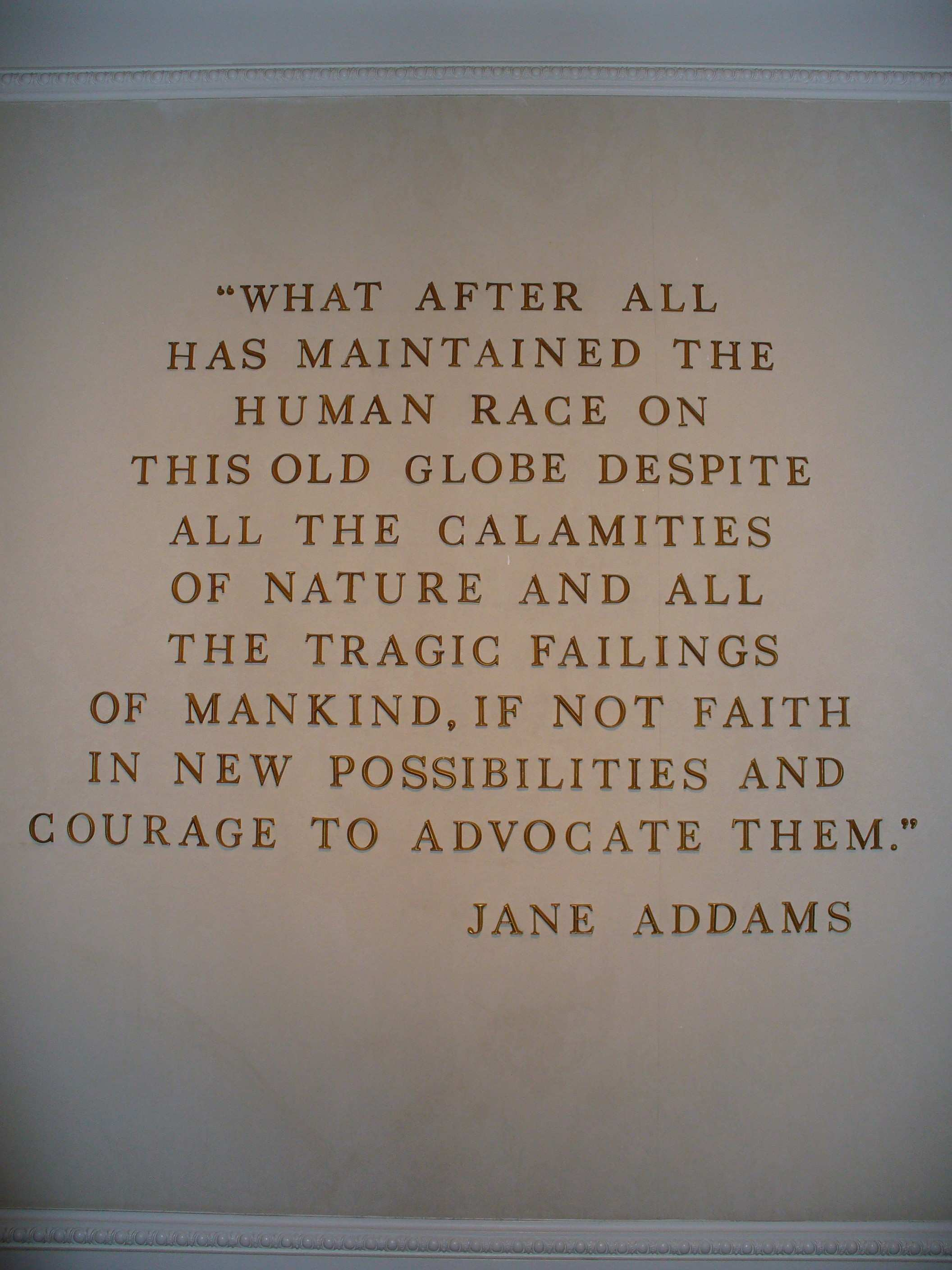 Quote Wall Art Elegant File Jane Addams Quote On the Wall American Adventure In the World