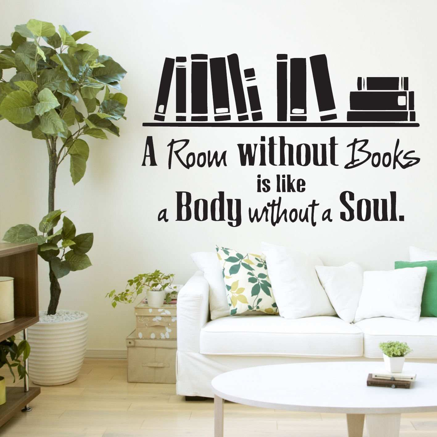 Amazon HUANYI A Room Without Books Quote Library Wall Sticker