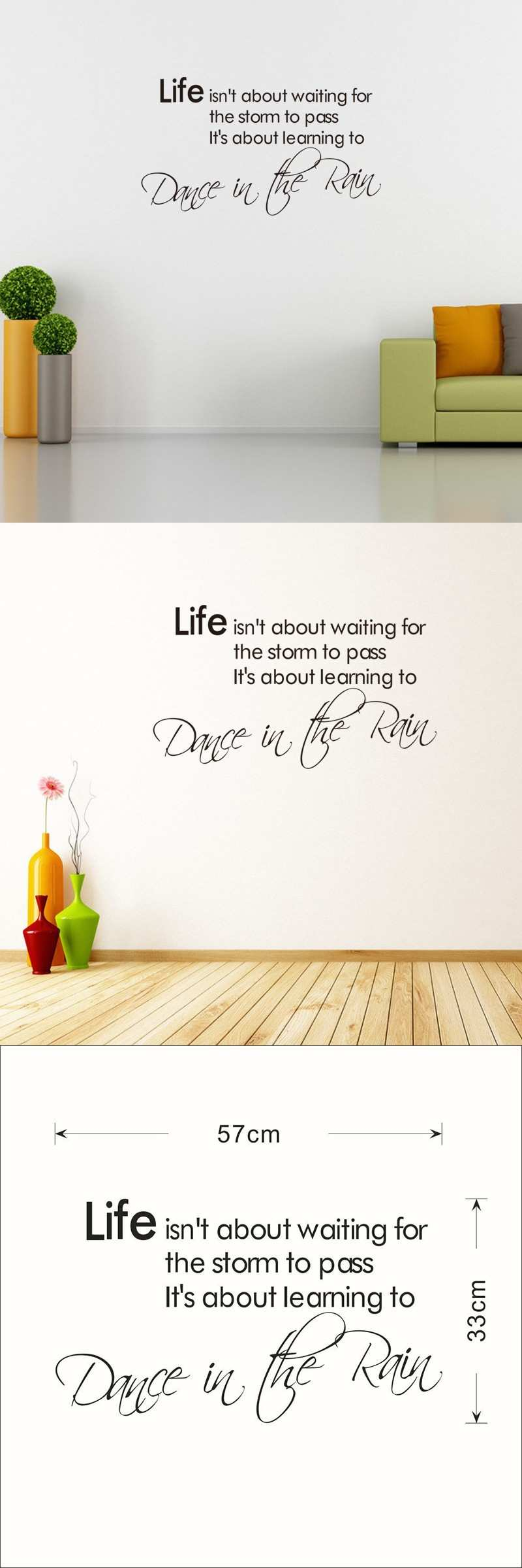 Life is not About Waiting 57 33cm Removable Cute Shelf Art