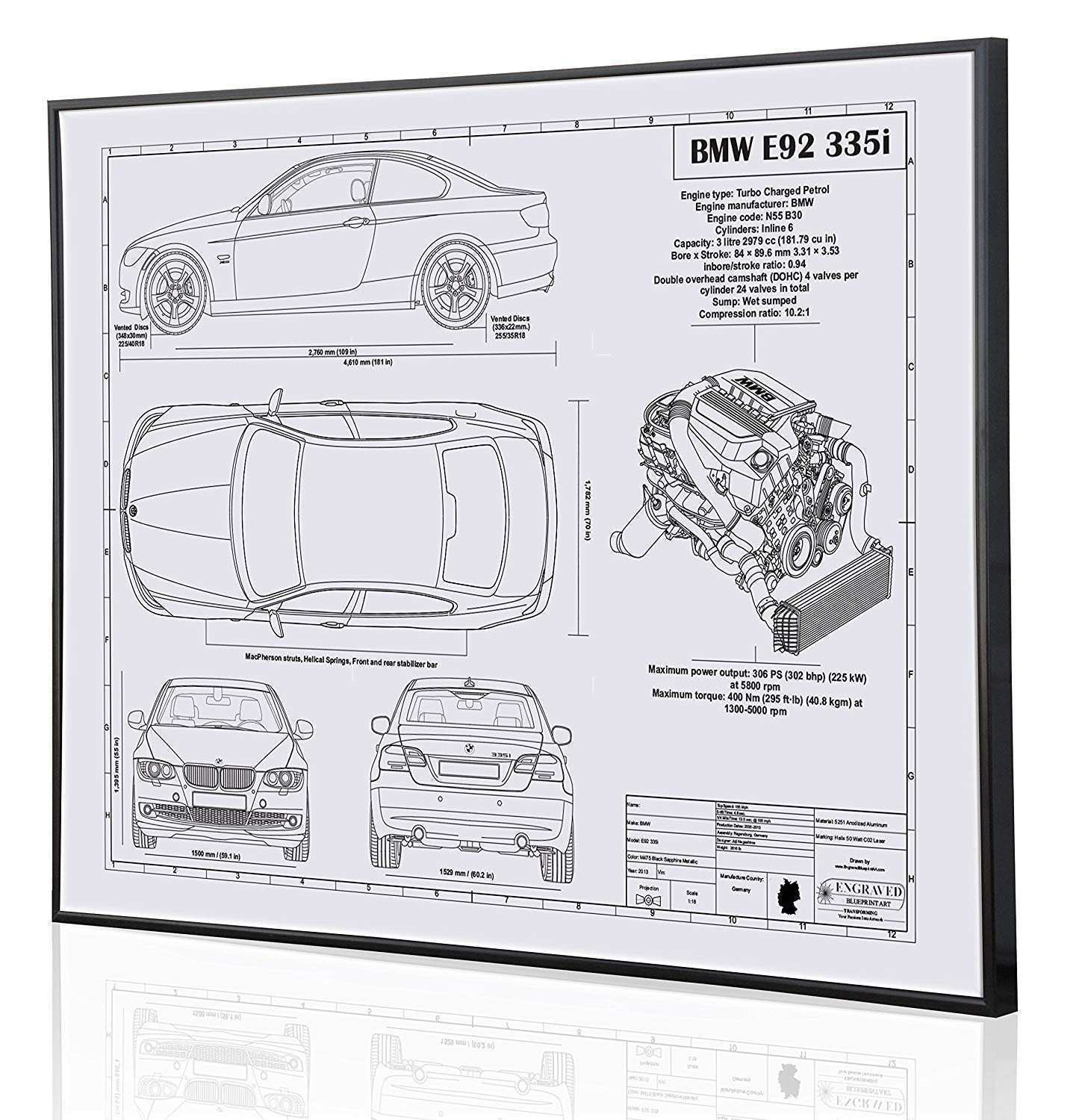 Amazon BMW E92 335i Blueprint Artwork Laser Marked