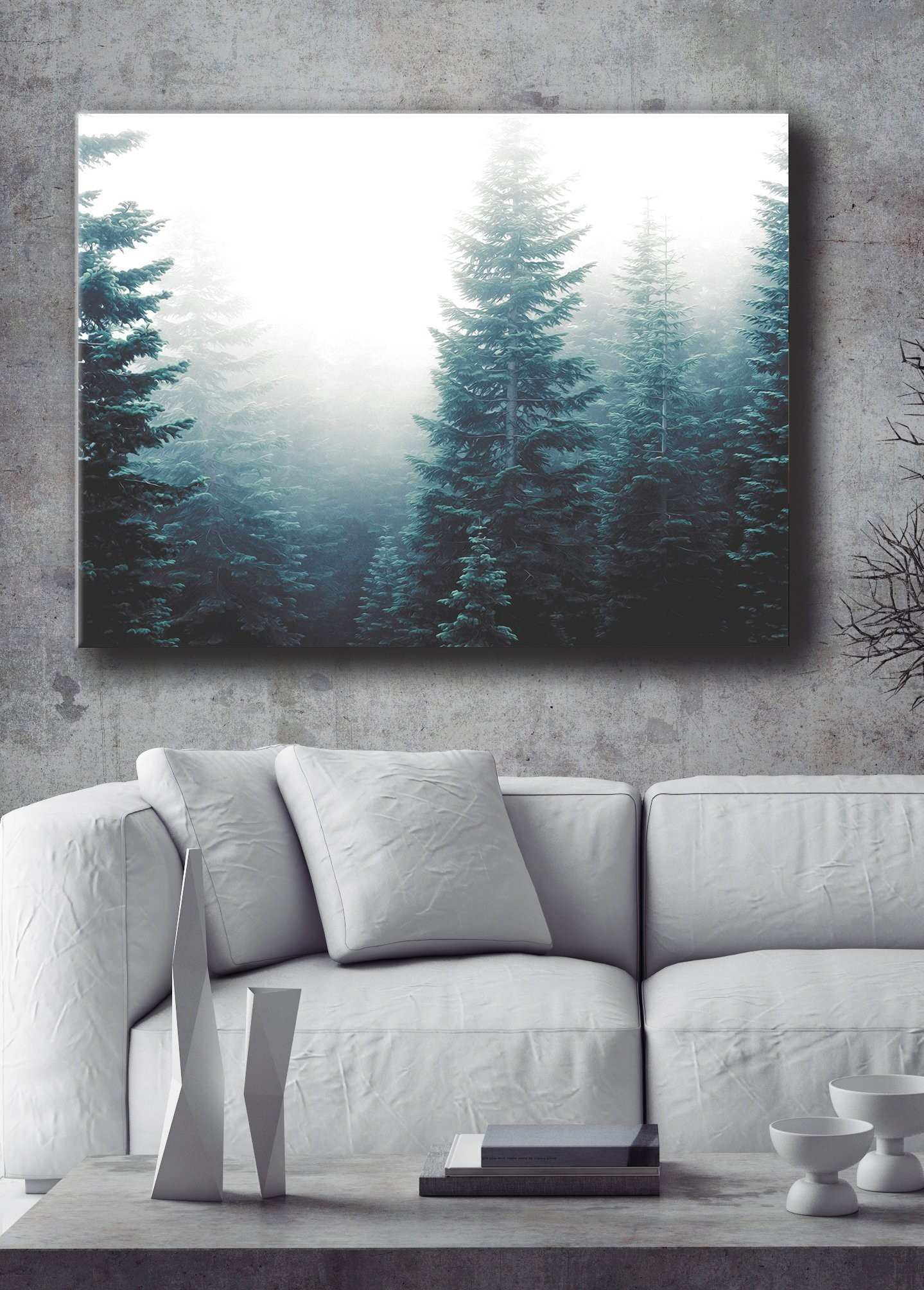 Nature Wall Art Evergreen Trees Fog Wood Frame Ready to Hang Design
