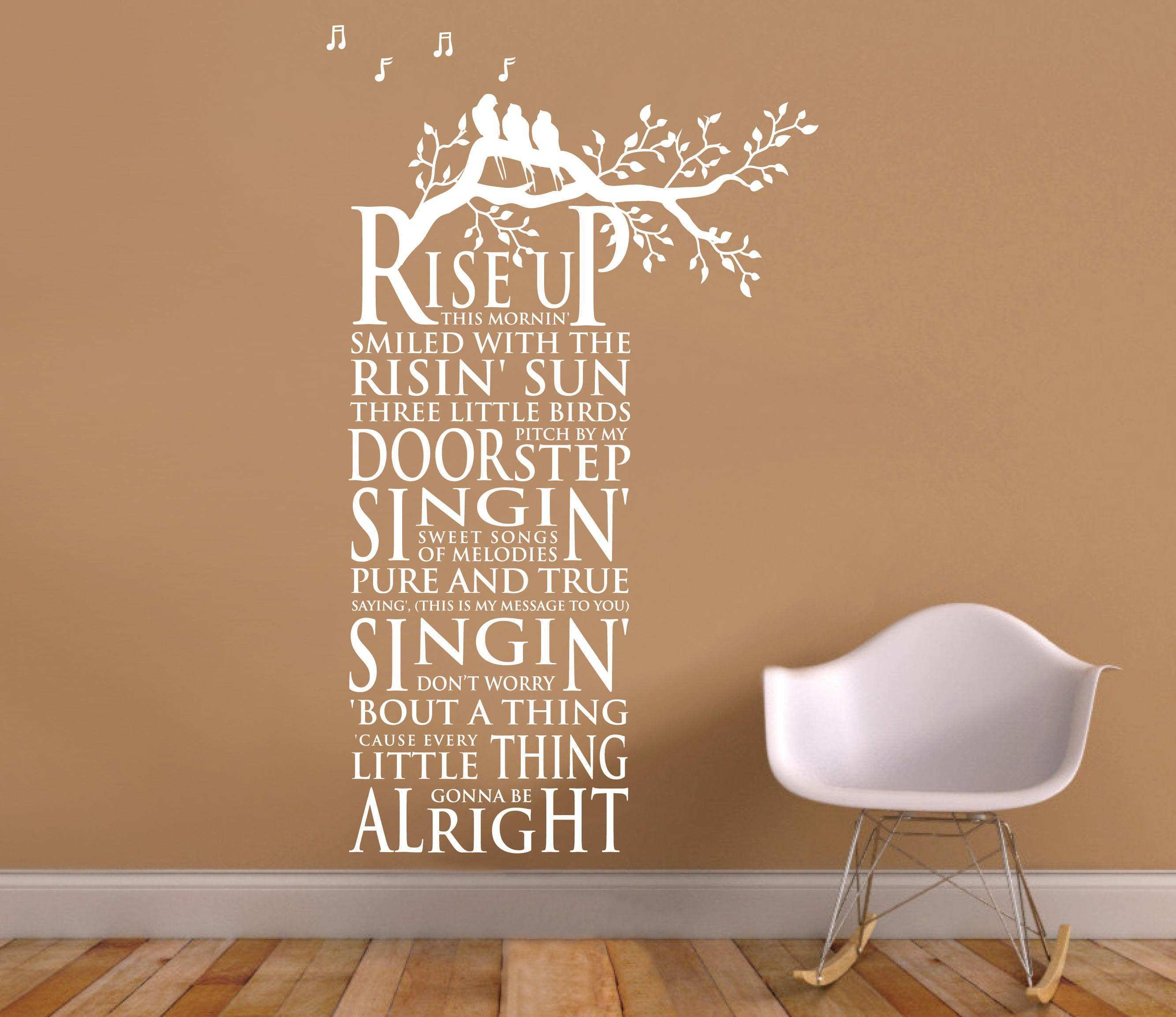 Wall Vinyl Decal Three Little Birds song Lyrics by Bob Marley Tree