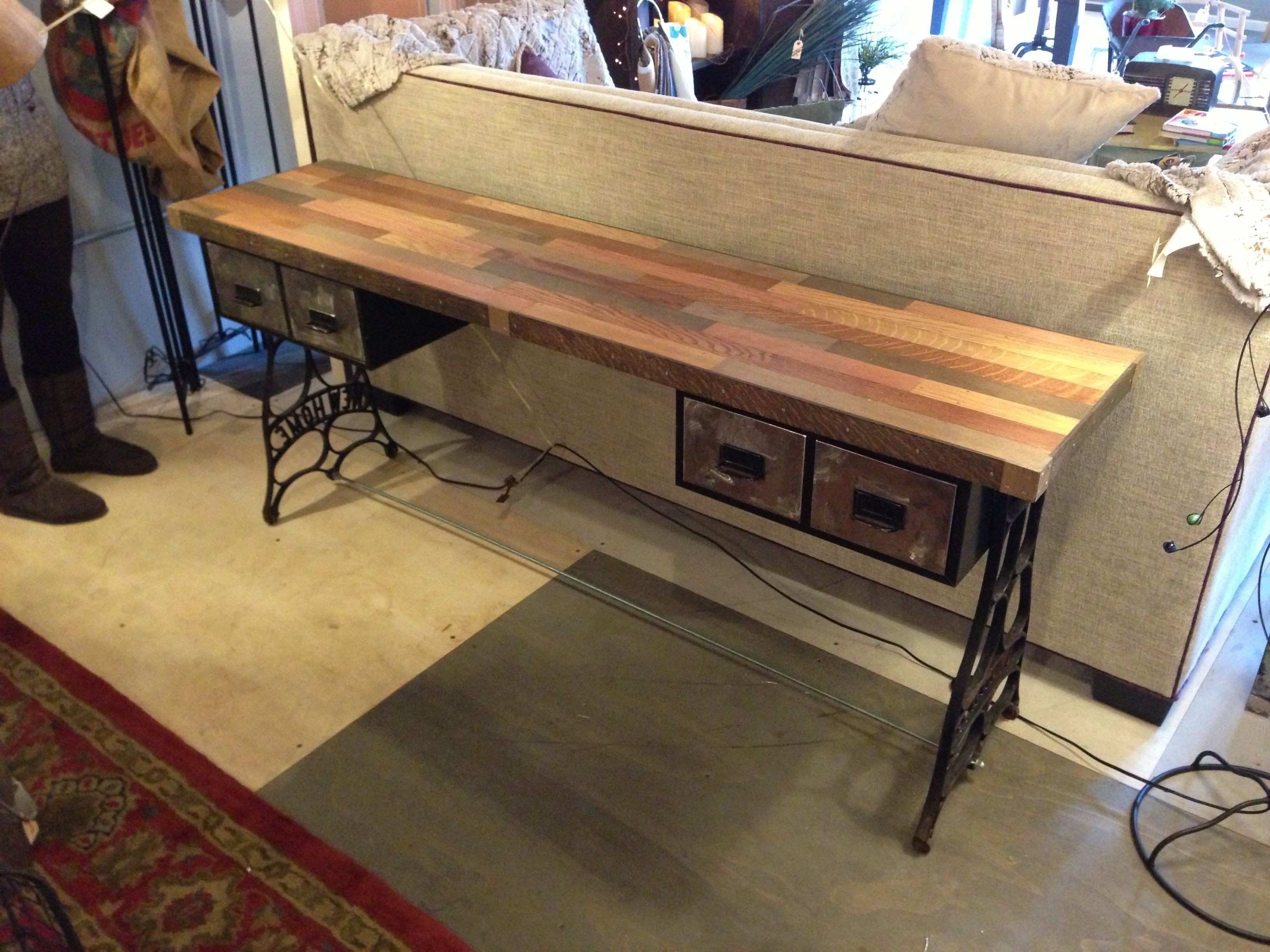 sofa table by rogue decor co reclaimed oak flooring top sewing
