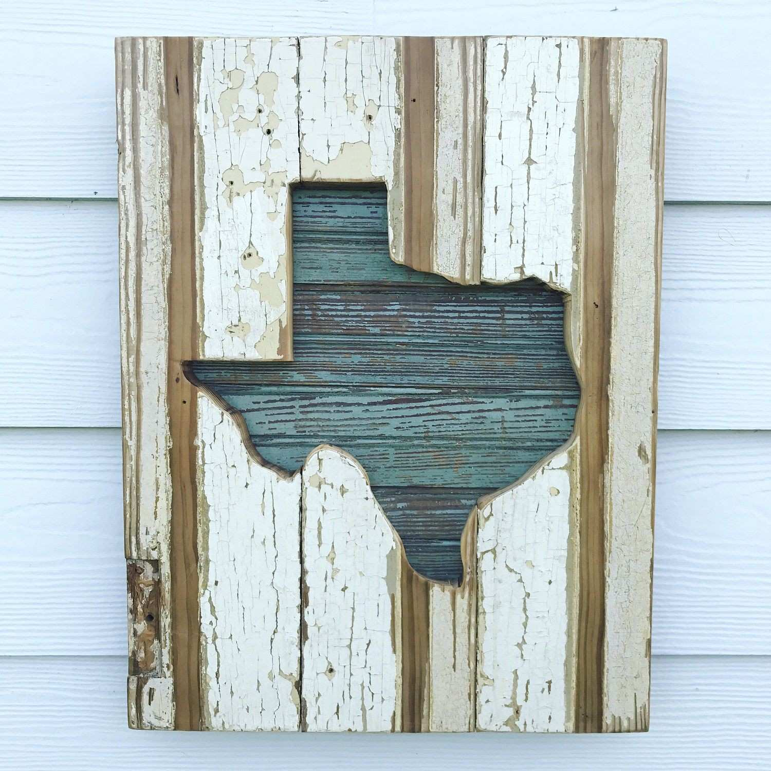 Reclaimed Wood Rainbow Texas Sign Rustic State Outline Rustic