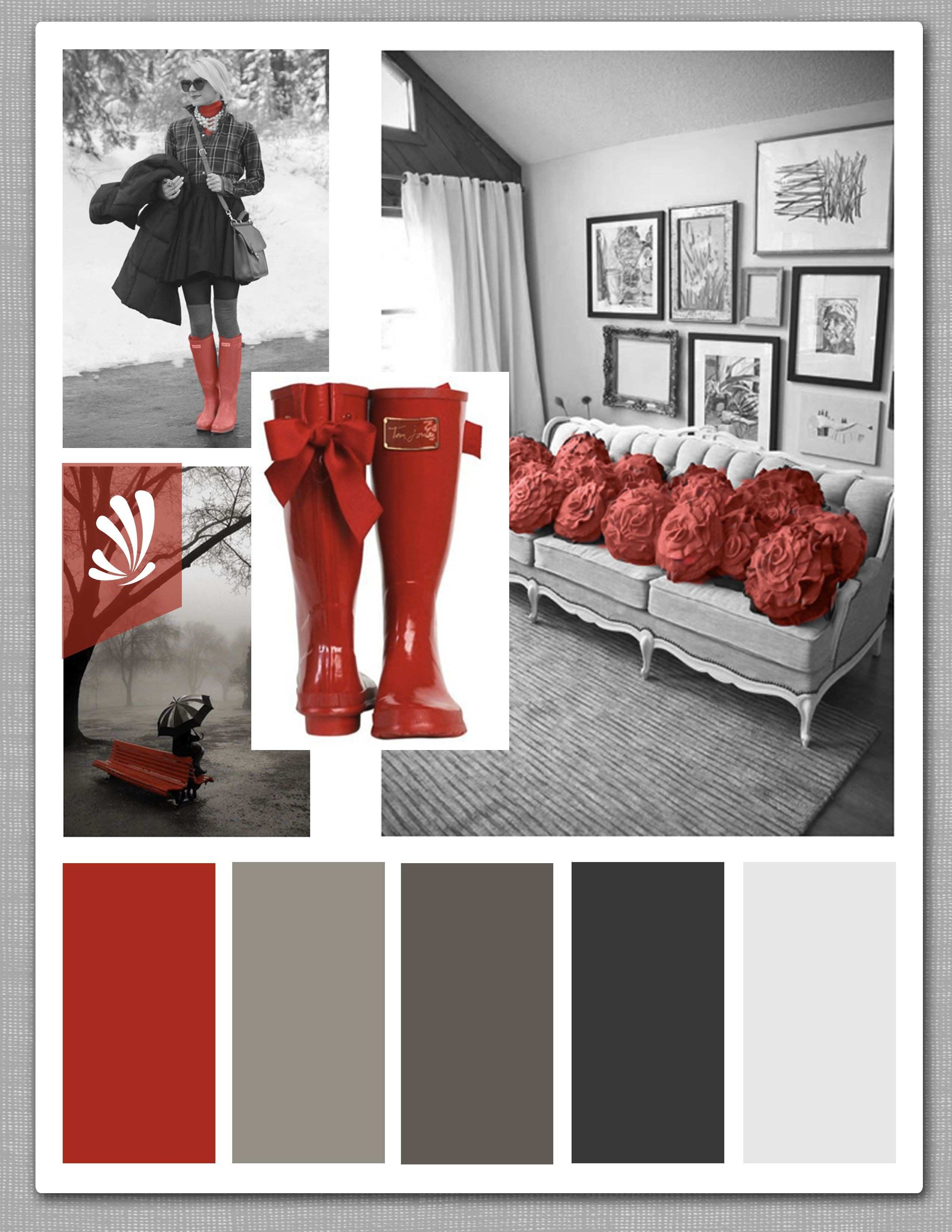 Cool grays and a pop of candy apple red Spice up your living room