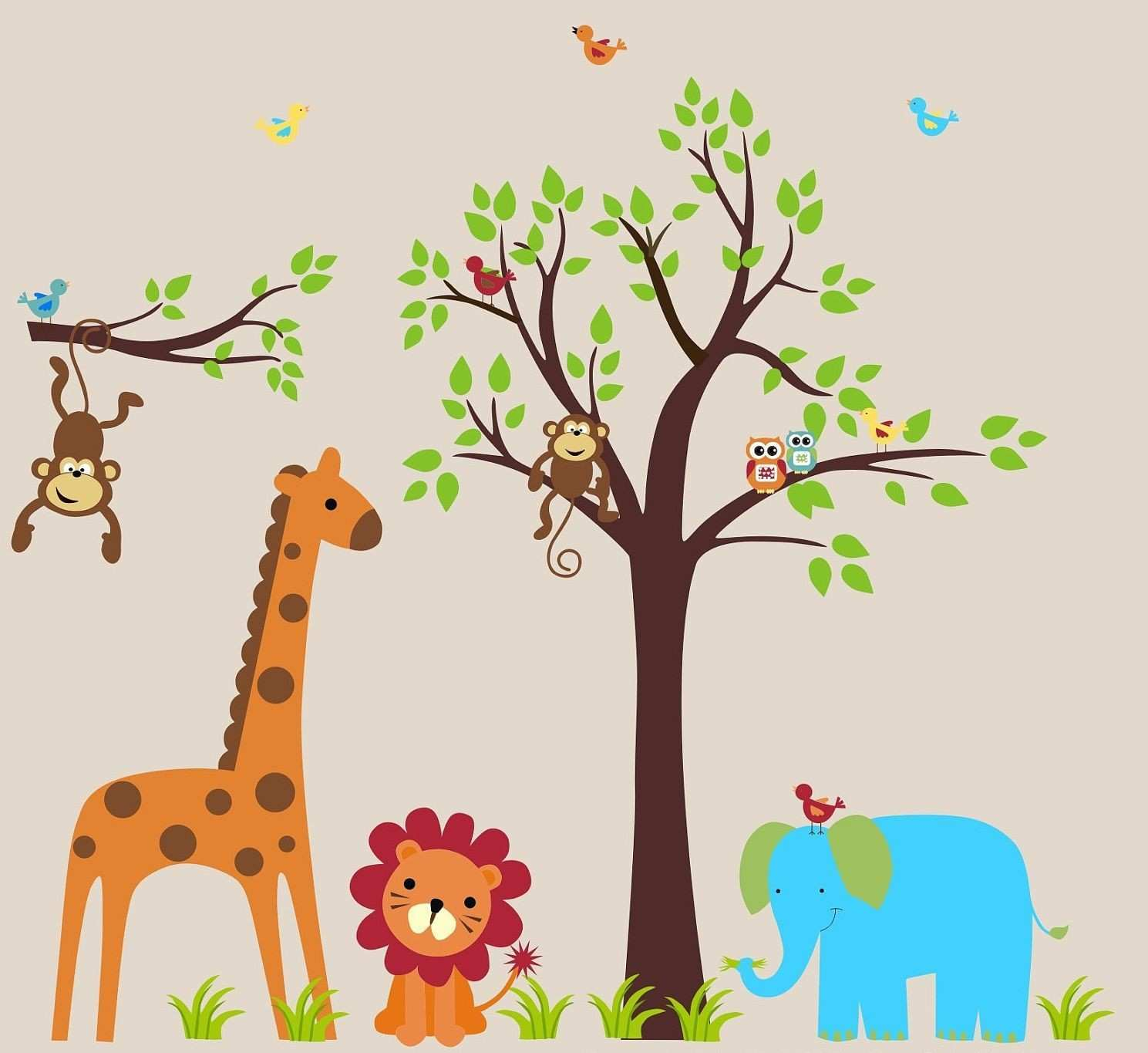 Interior Marvelous Animal Wall Decals For Kids Rooms Design Ideas