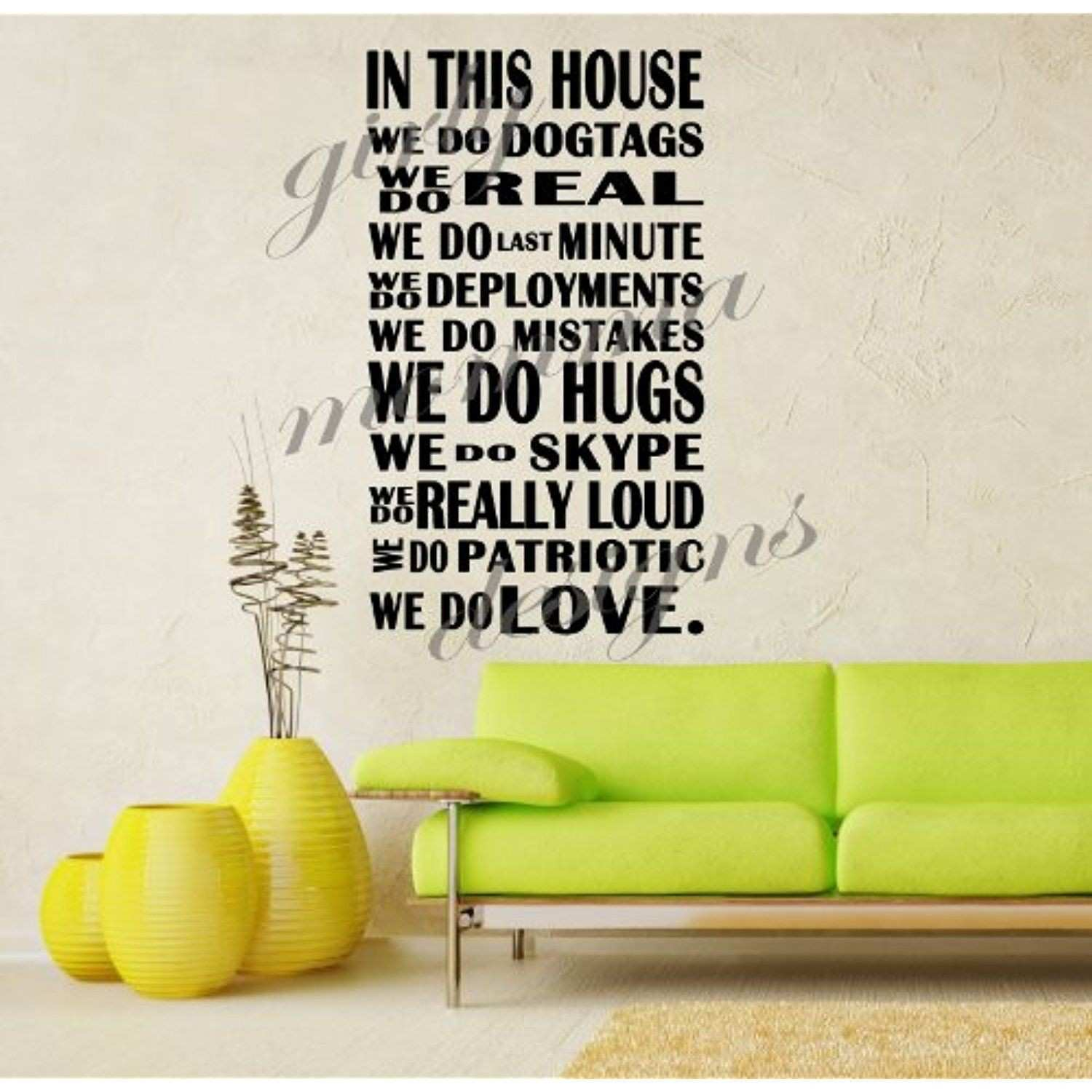In This House We Do Military Quote Vinyl Wall Decal [BLACK] by