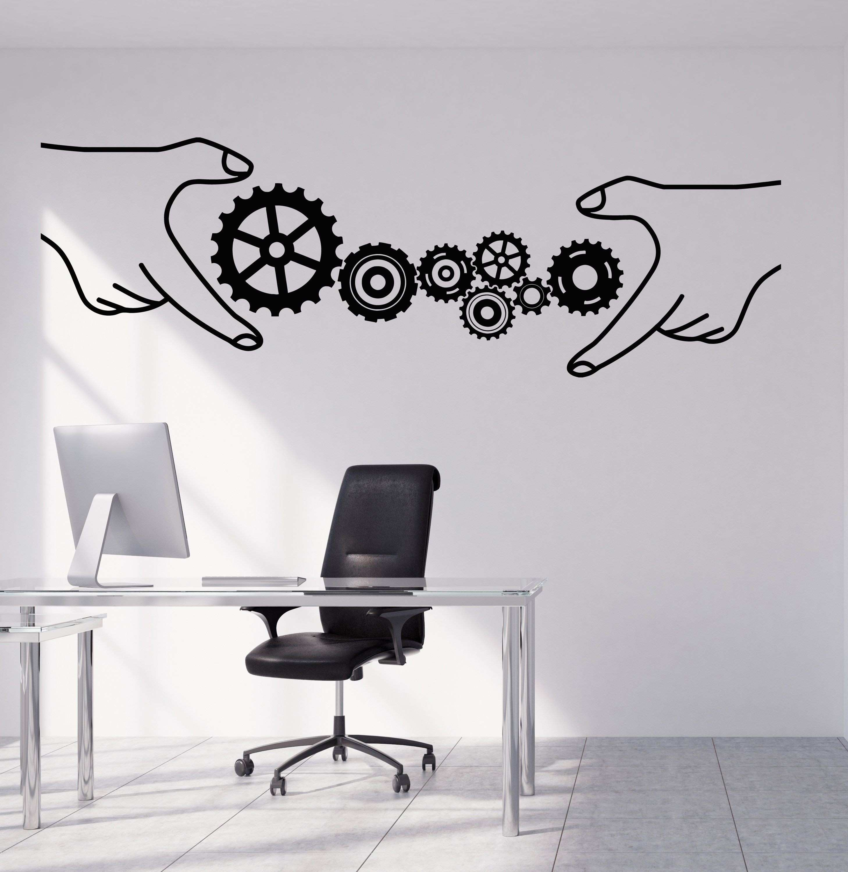 Vinyl Wall Decal Gears fice Style Business Teamwork Stickers