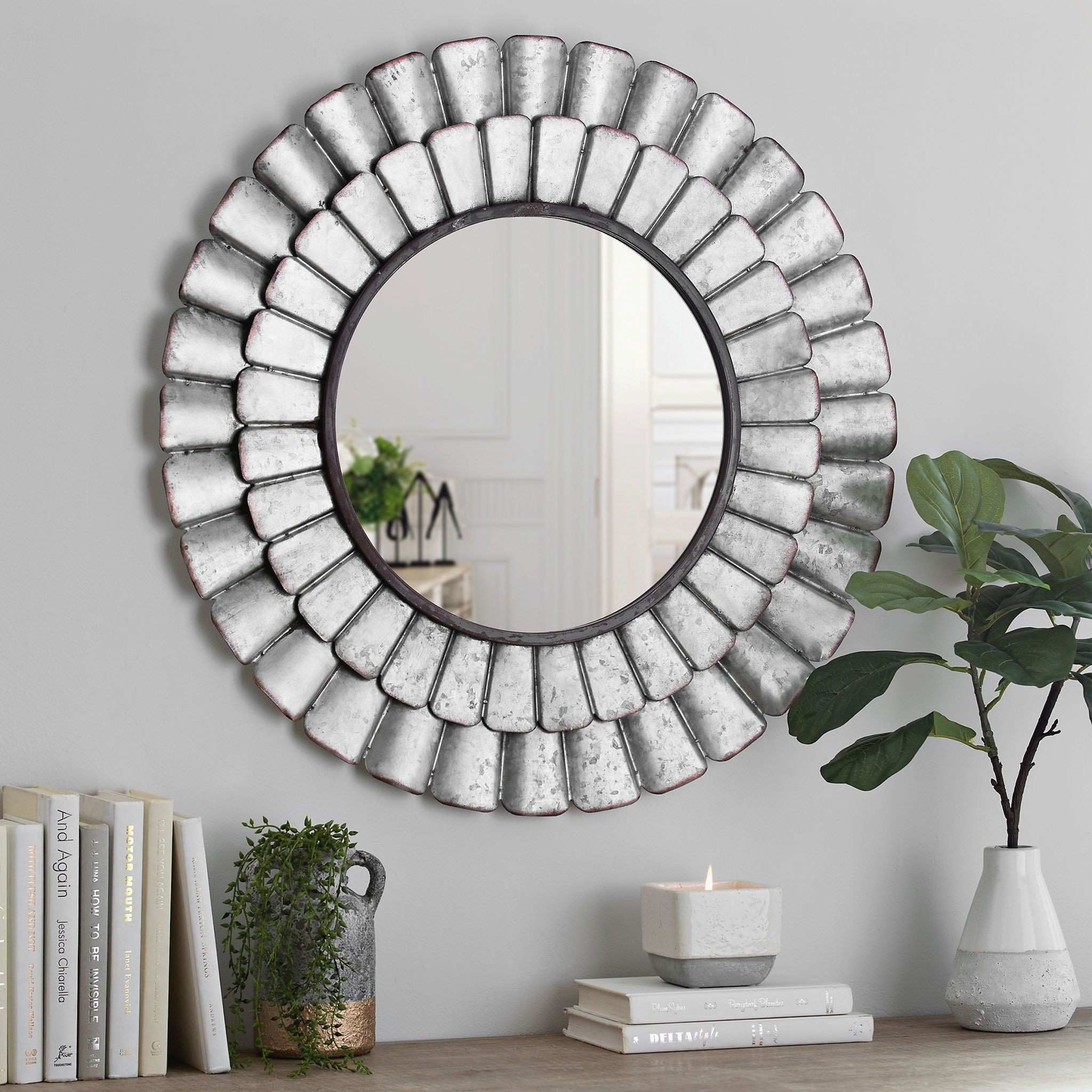 Furniture Jcpenney Mirrors Awesome Galvanized Metal Petal Wall