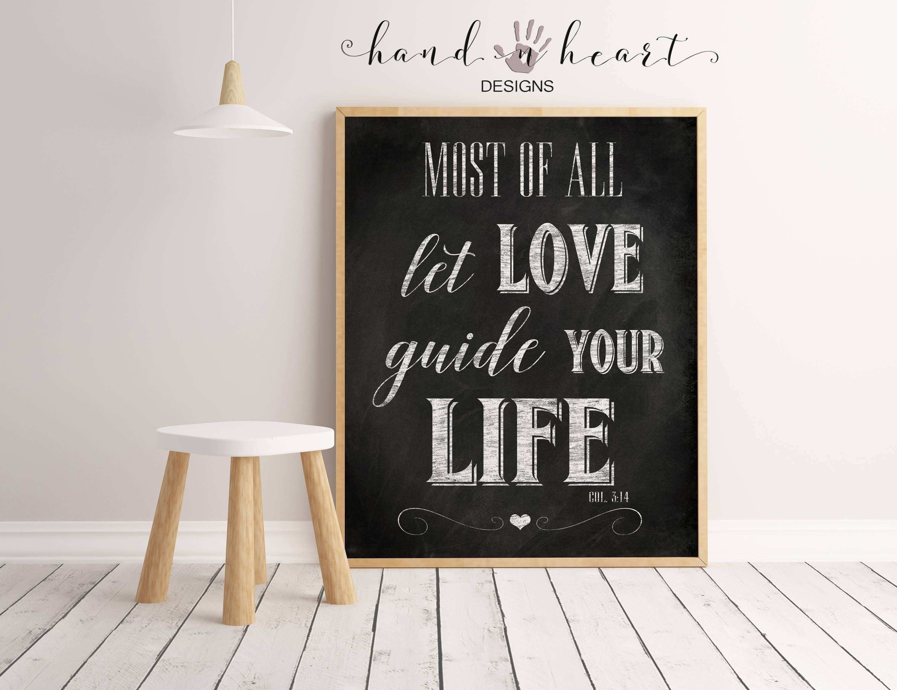 Most of all let love guide your life printable scripture farmhouse