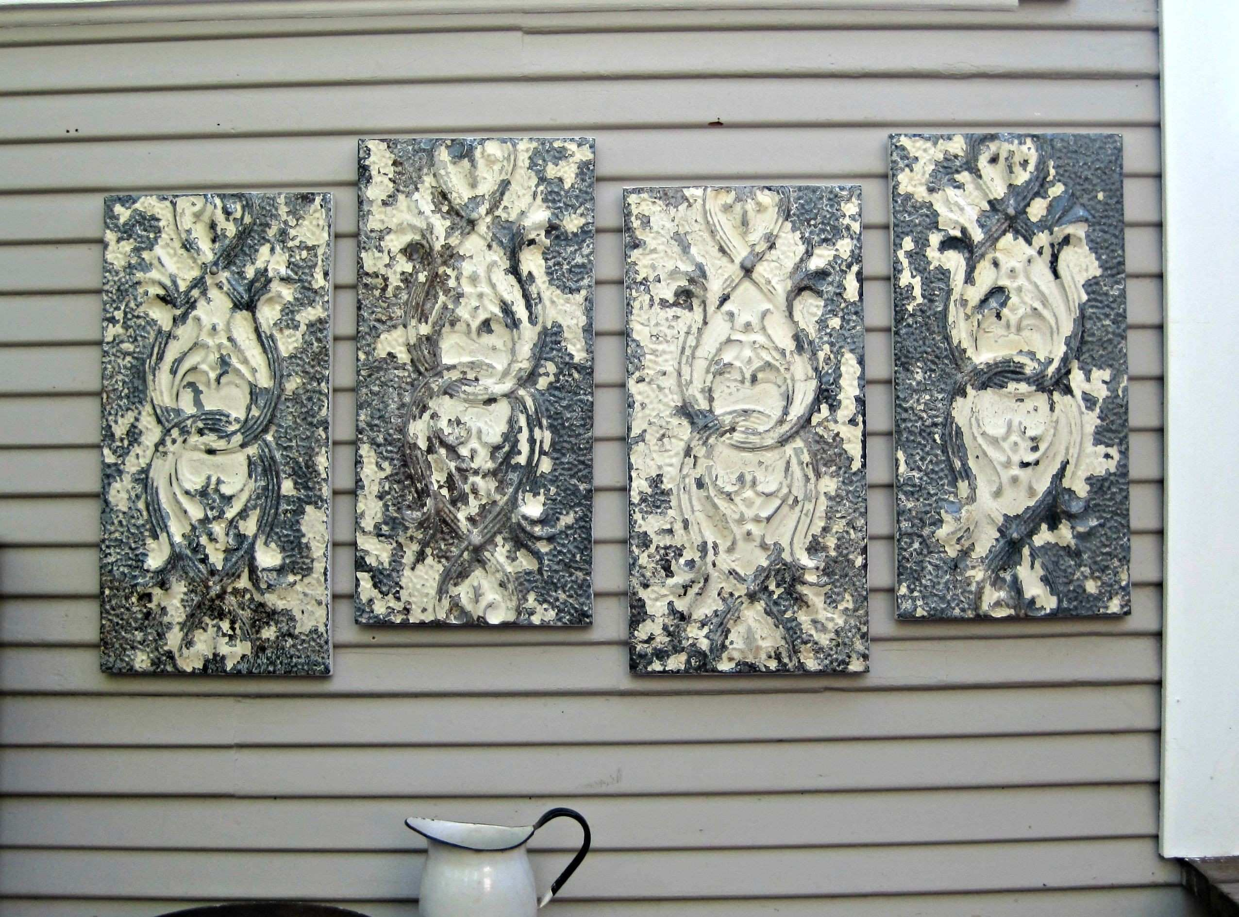 wall art Antique Ceiling Tin Tiles Distressed Vintage Decor