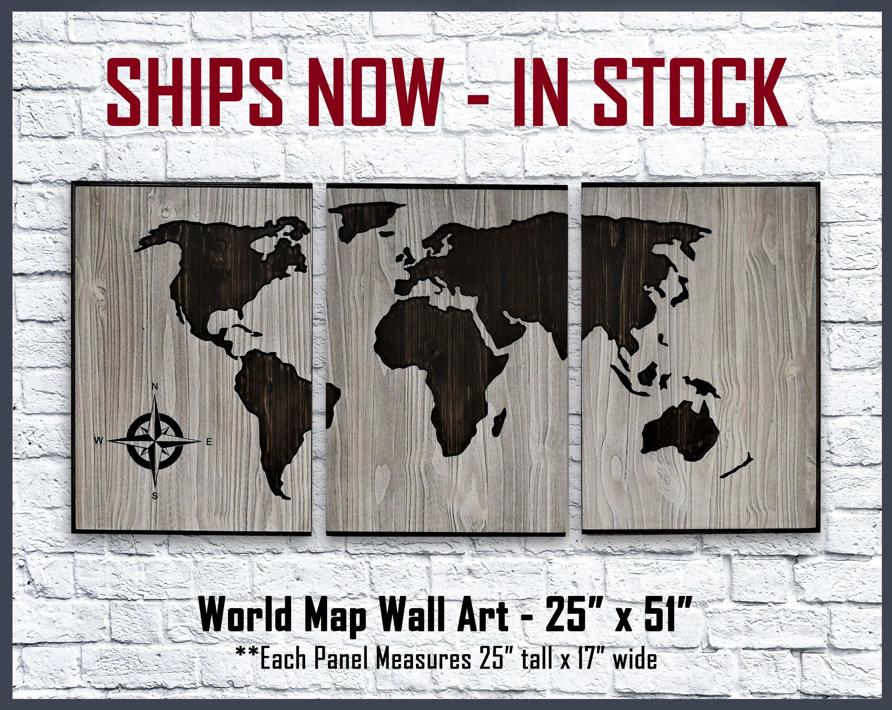 World Map Wall Art Wood Wall Art Home and Business Wall Decor