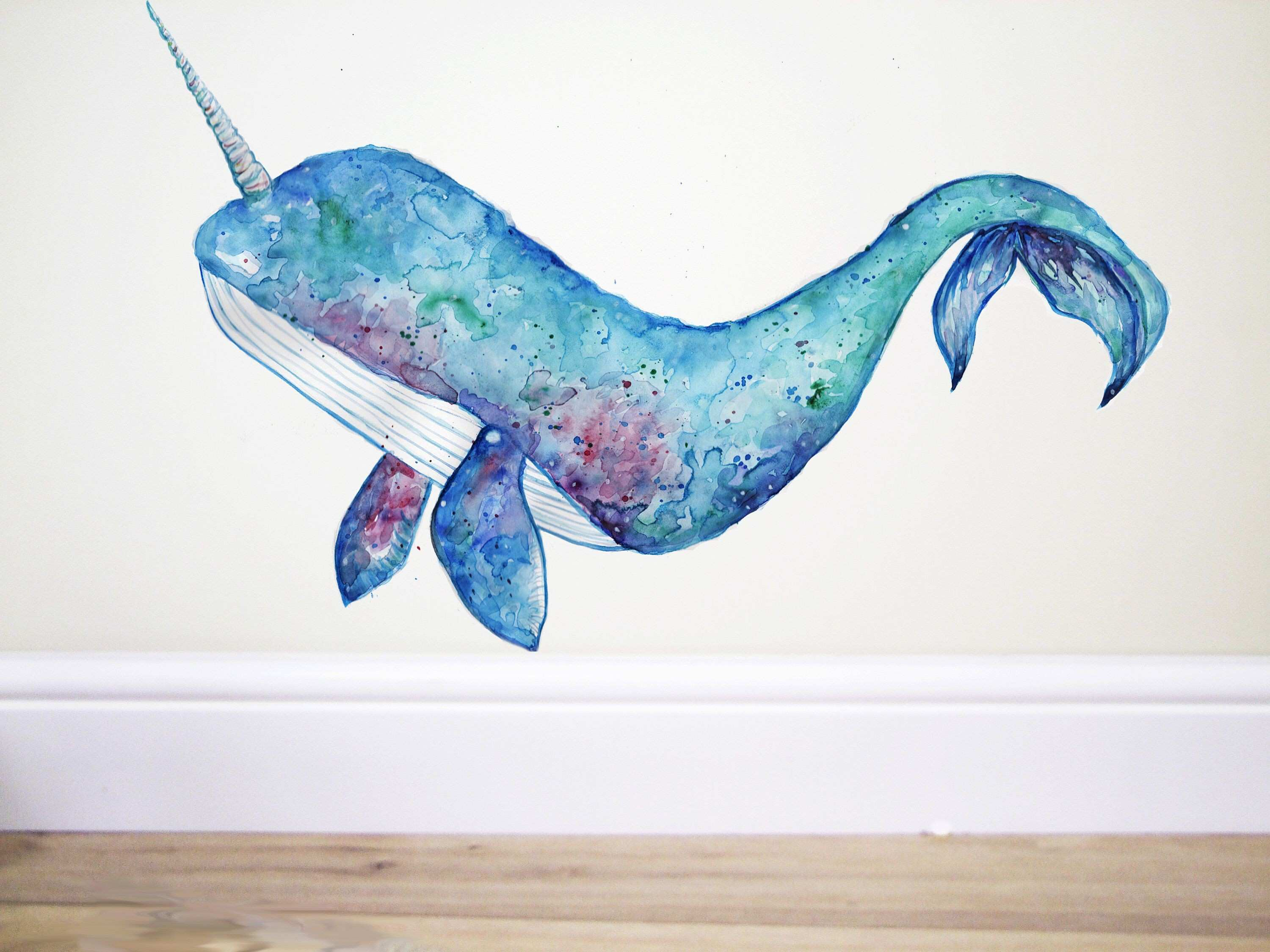 narwhal wall decal unicorn whale whale wall decal whale sticker