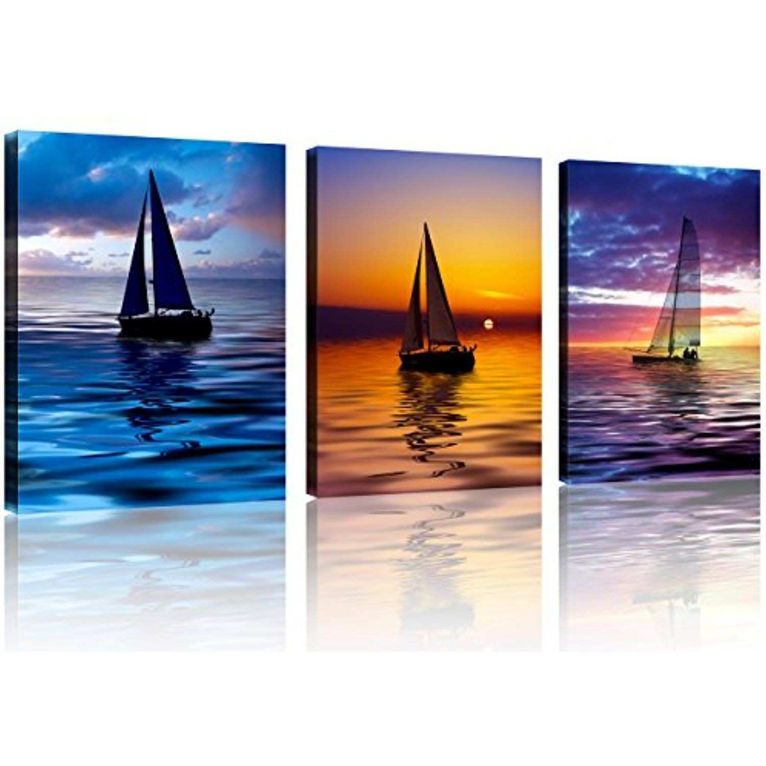 QICAI 3 Panel Colorful Sailboat at Sunset Canvas Print Ready to