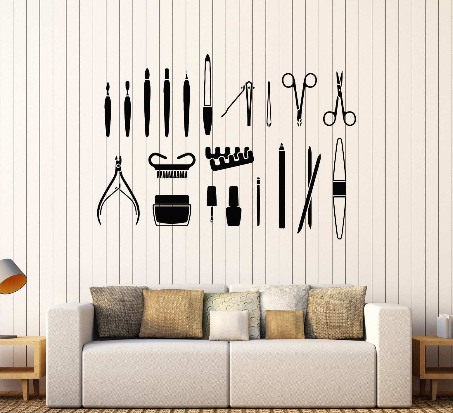 Vinyl Wall Decal Beauty Salon Tools Nail Manicure Stylist Stickers