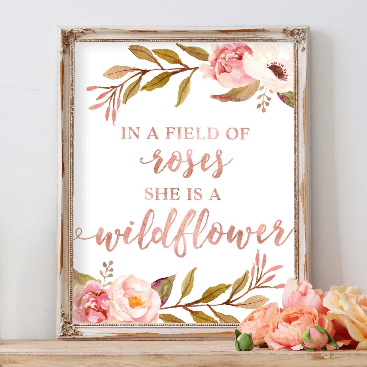 In A Field of Roses She Is A Wildflower Girl Wall Art Floral Flowers