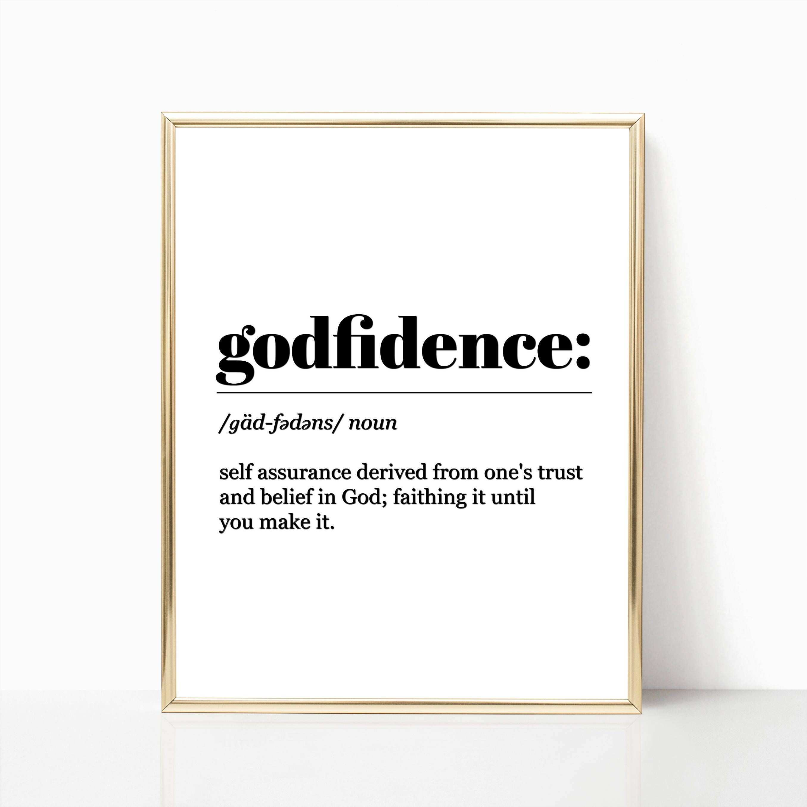 Wall Art Godfidence Definition Inspirational Quote Instant