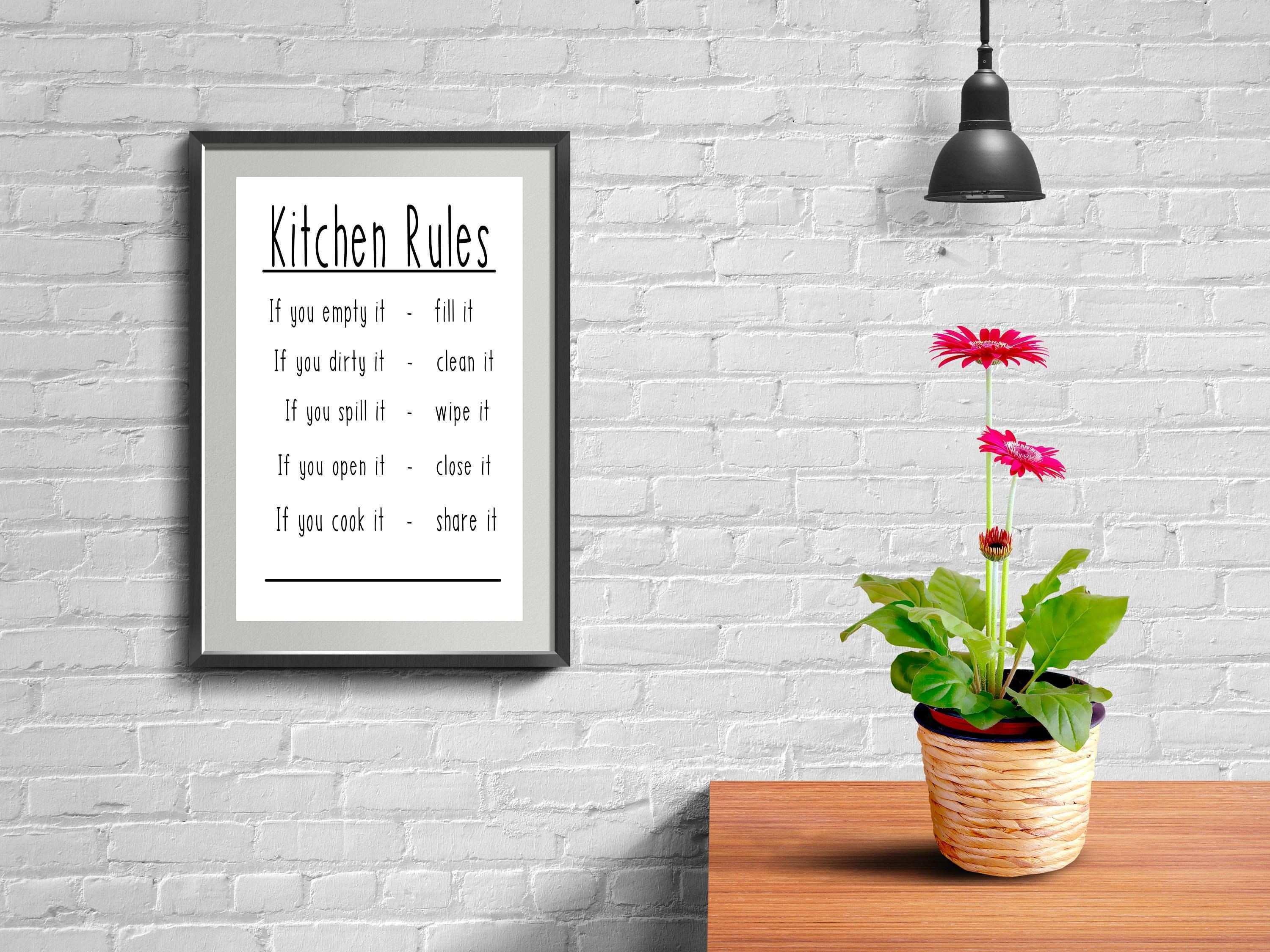 Kitchen Rules Printable Home Decor Wall Hanging Kitchen Decor