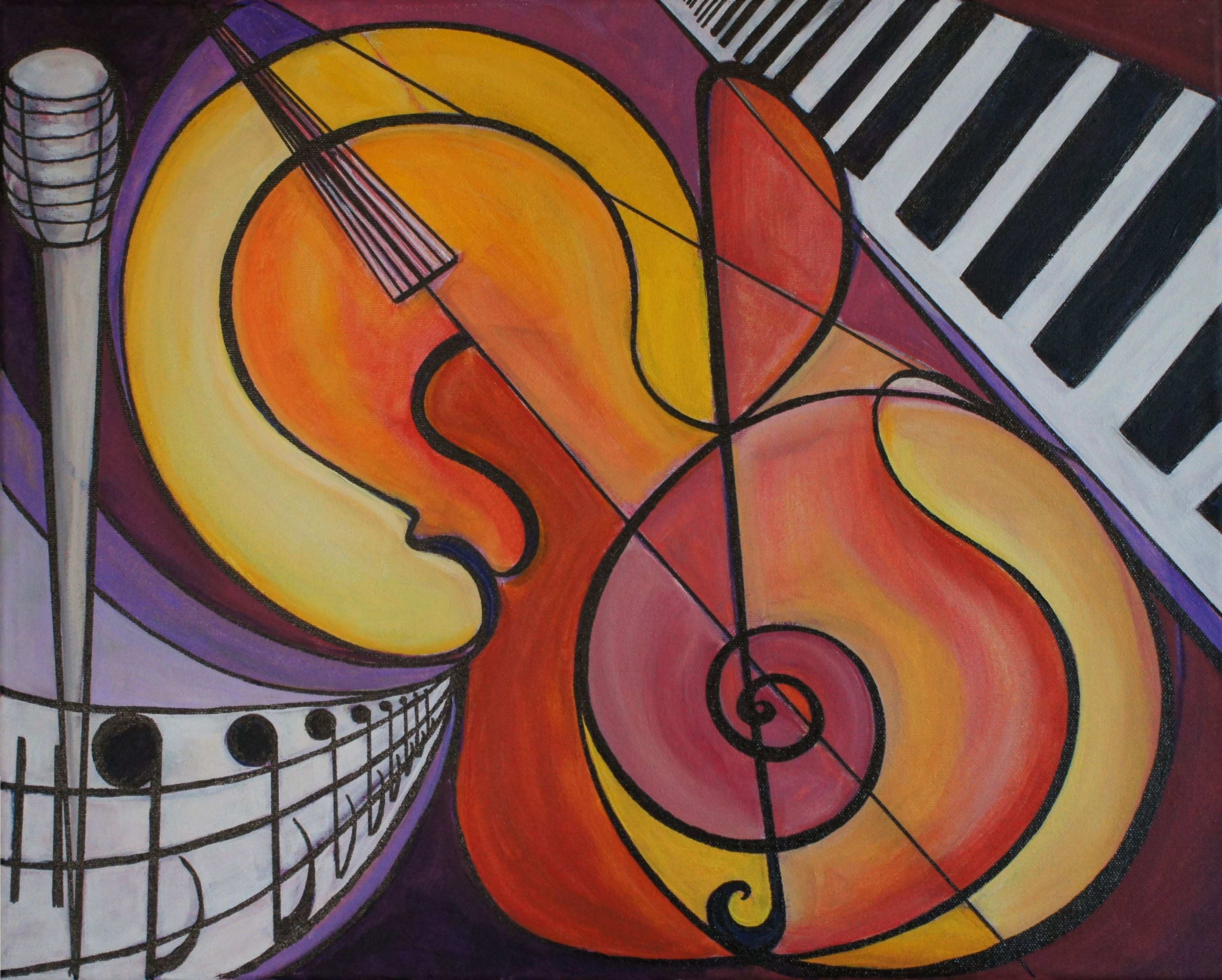 For Sale Fine Art of Music Acrylic on Wrapped Canvas by Shoushan