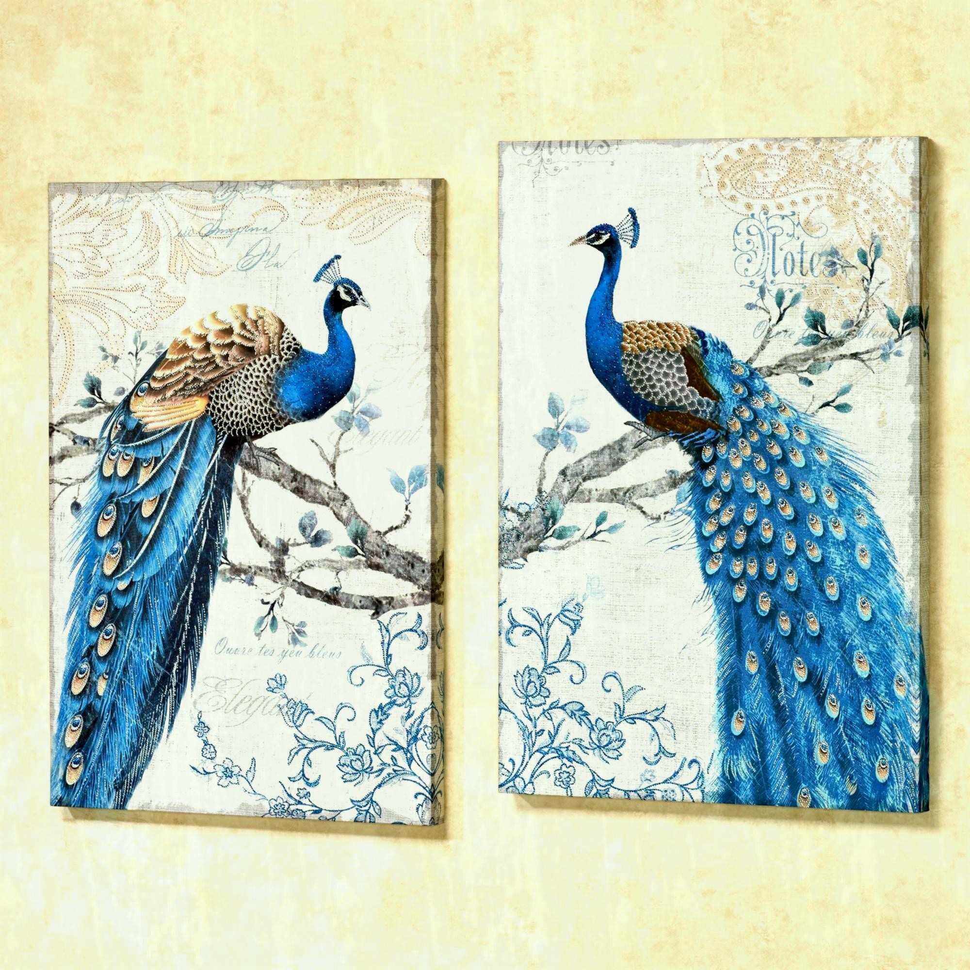Magnificent Peacock Canvas Wall Art Blue Set Two To Expand