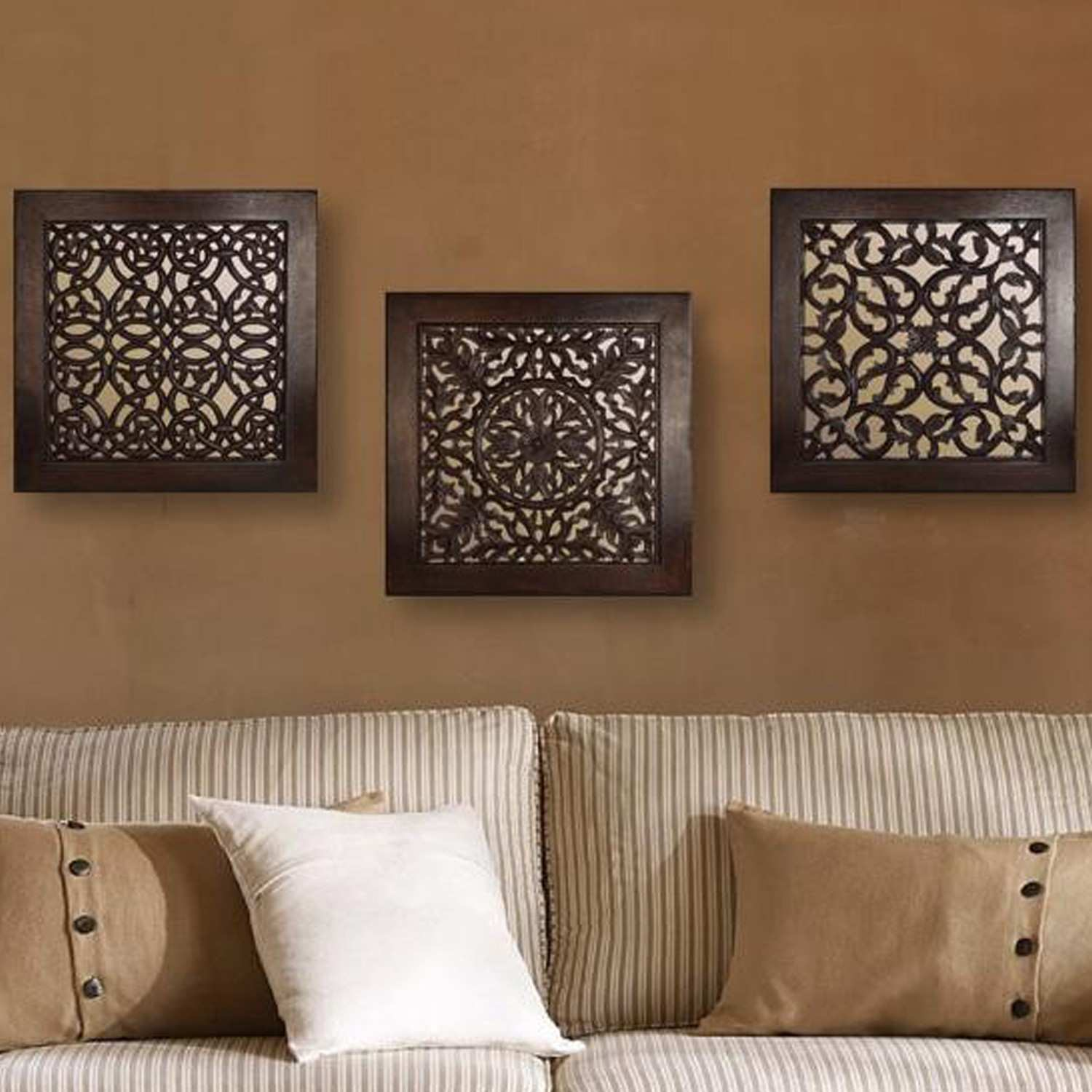 Brown Square Wall Art set of 3