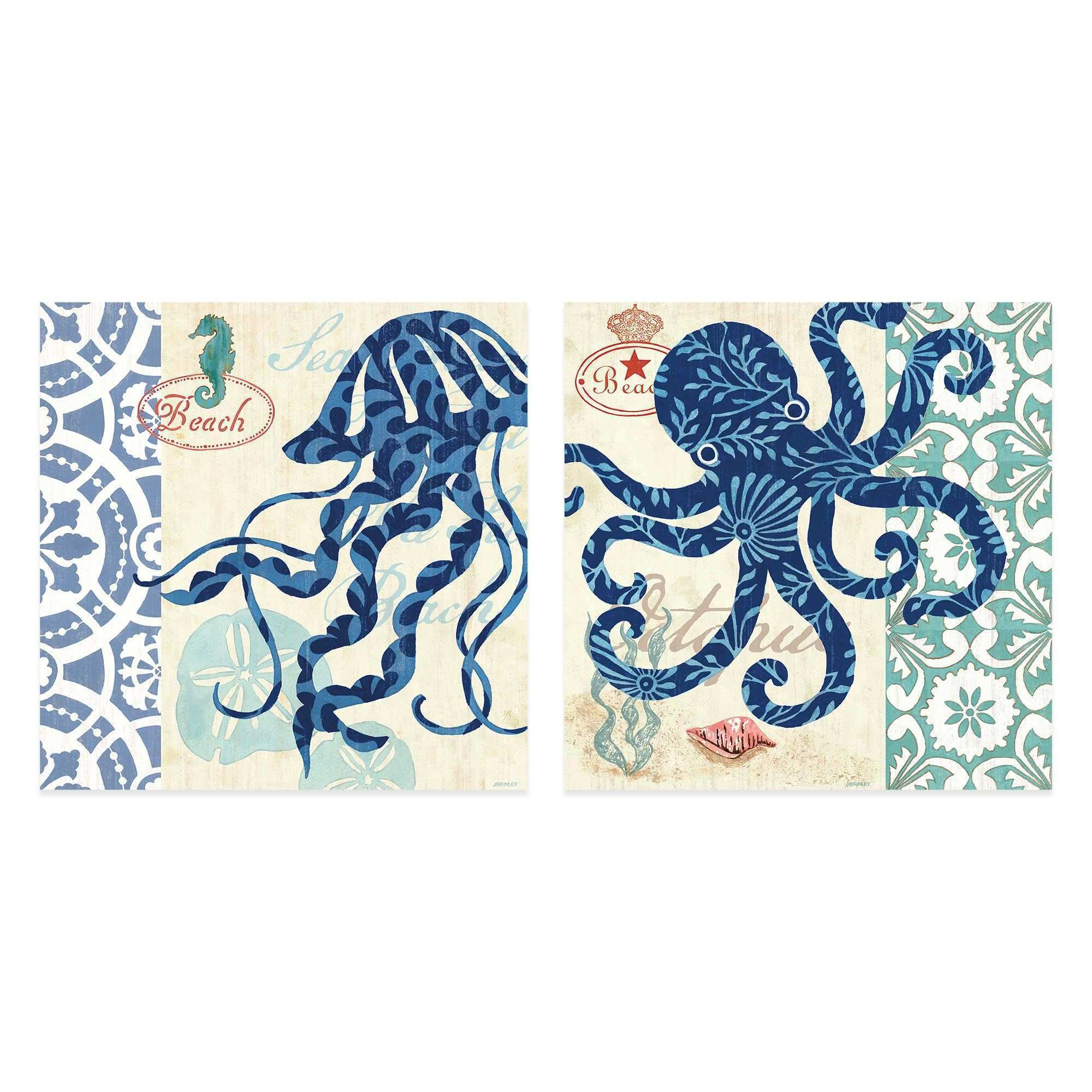 Sea Life Jellyfish Octopi 16 Inch x 16 Inch Embellished Canvas Wall