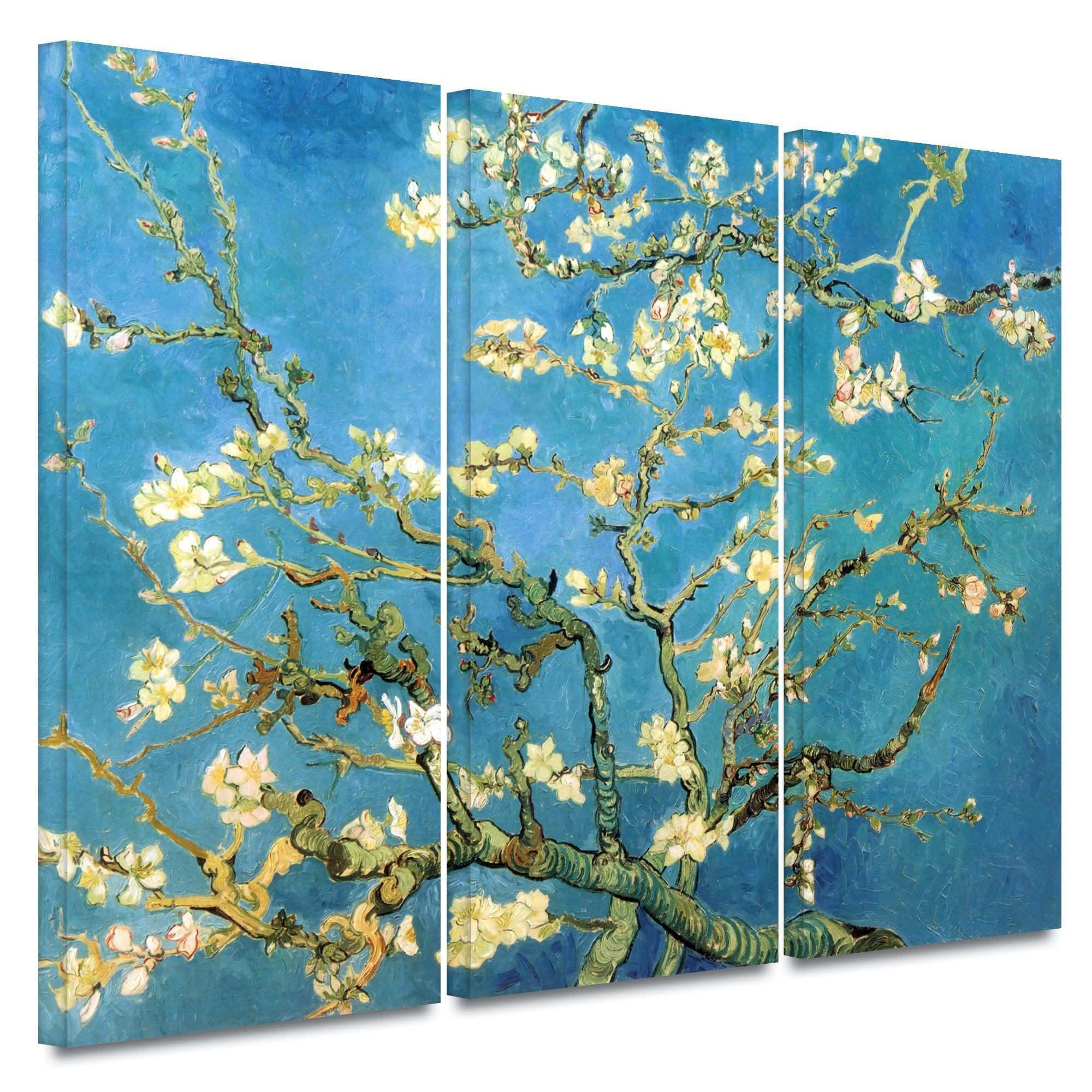 "Almond Blossom"" by Vincent Van Gogh 3 Piece Canvas Painting Print"