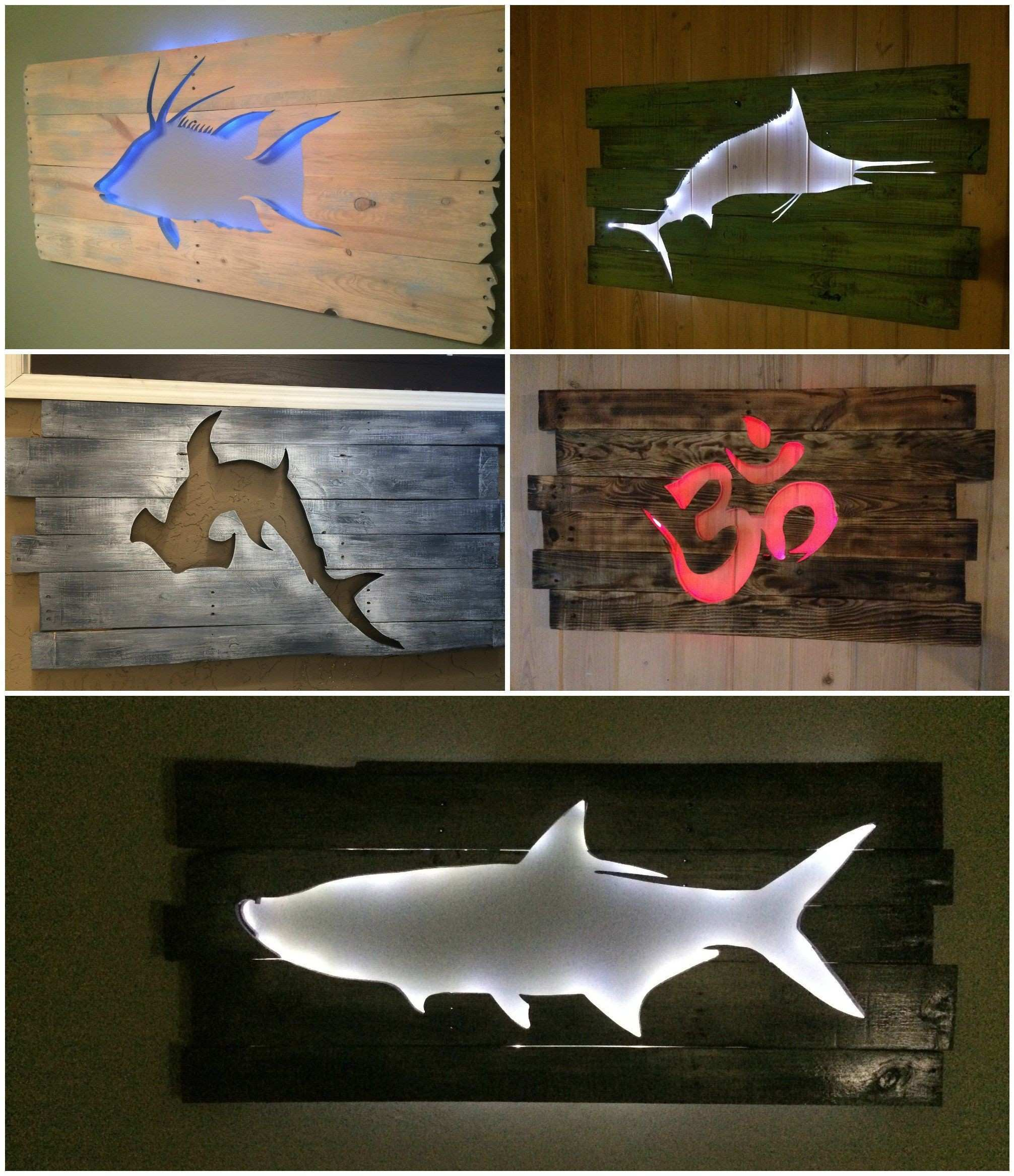 Beautiful Backlit Pallet Wall Art Design Shark Wall Decals