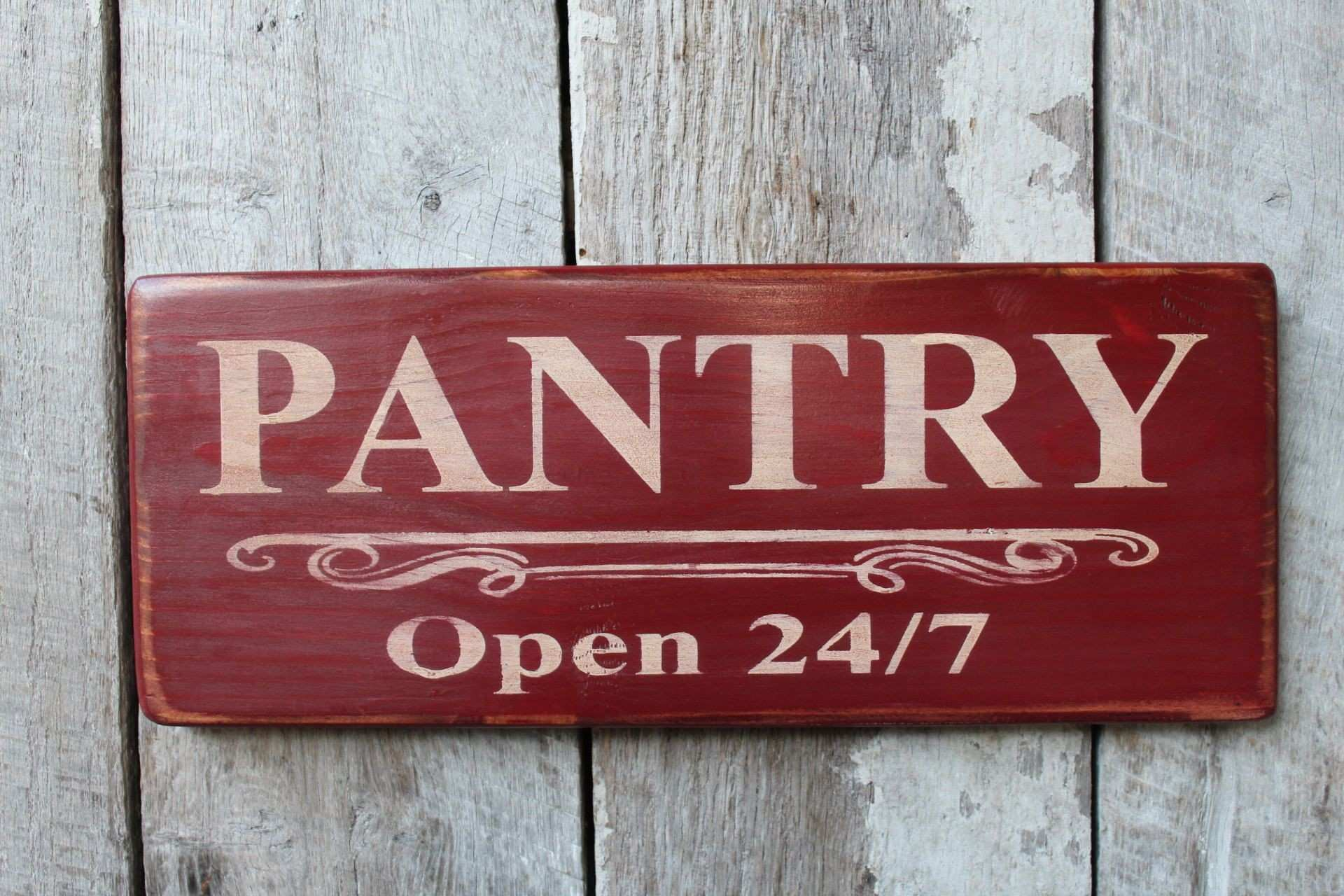 Metal Wall Art Words Elegant Pantry Open 24 7 Wood Sign Kitchen Wall