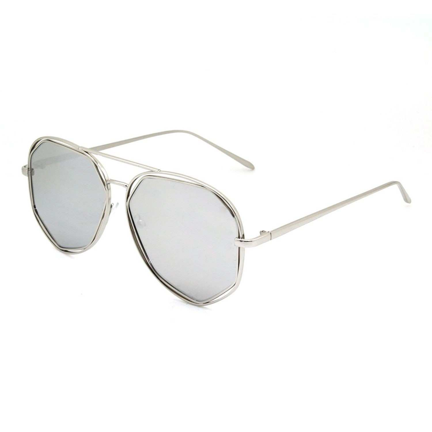 Mechaly Oval Style Sunglasses with Silver Frame & Silver Mirror Lens