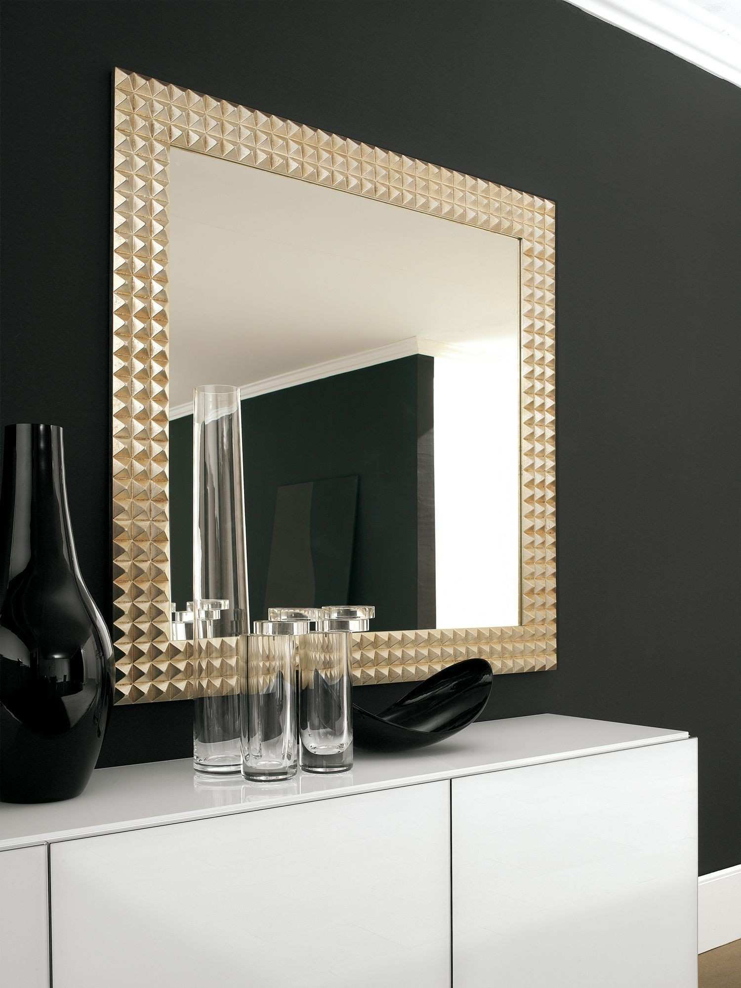 The Egypt is a stunning wall mirror with a gold or silver foil