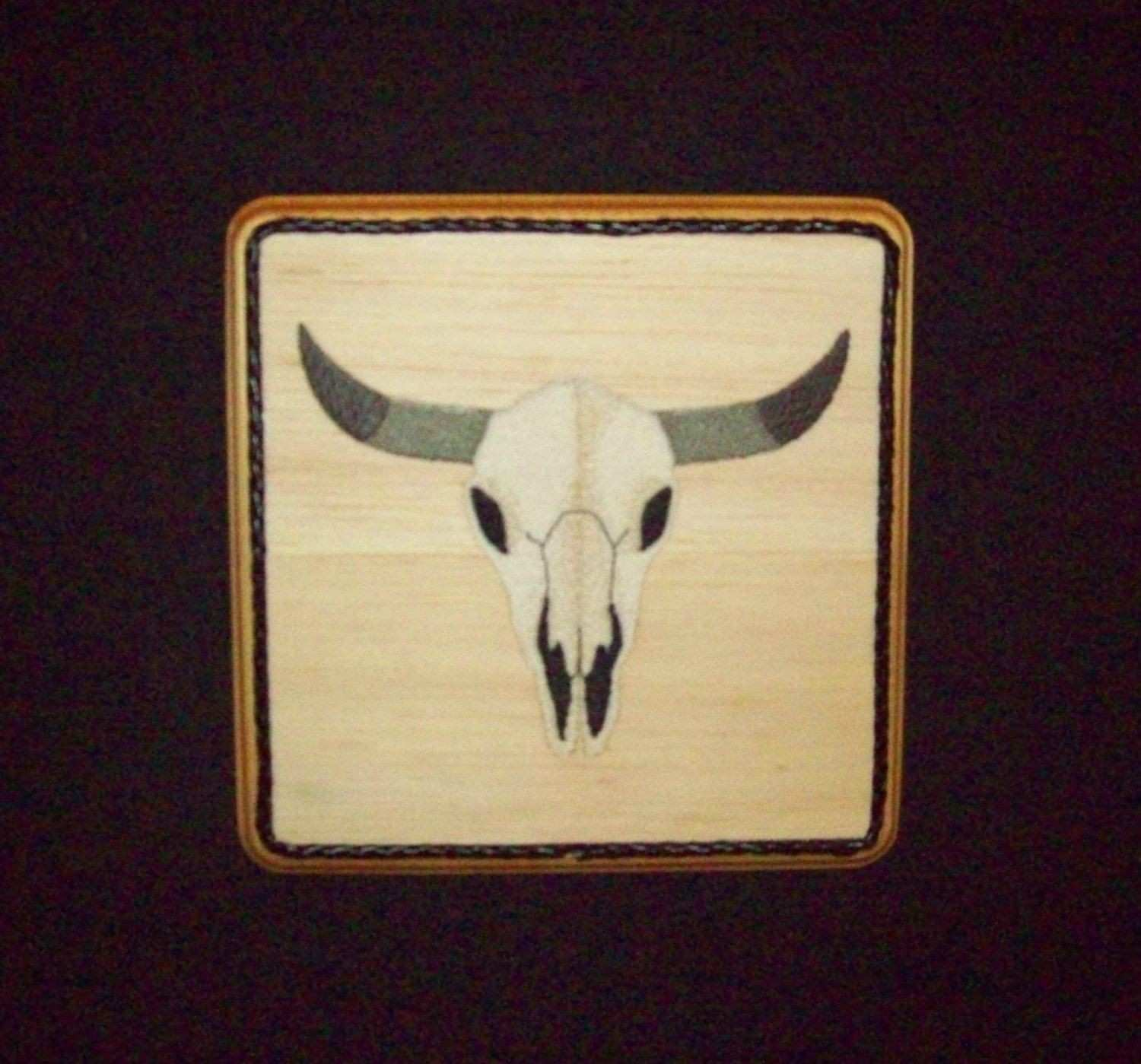 Steer Skull Country Western Wall Decor Embroidery on Balsa Wood by